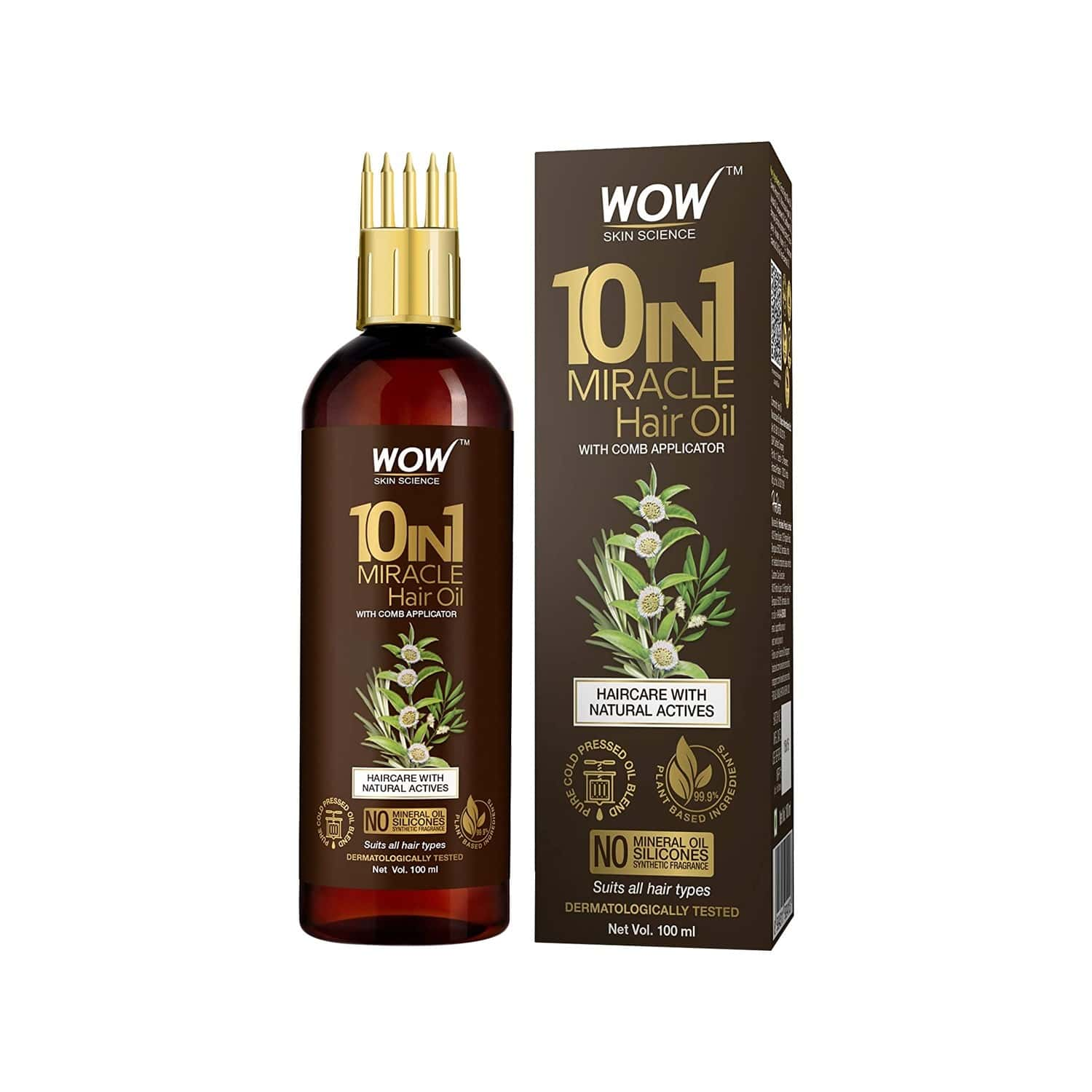 Wow Skin Science 10-in-1 Active Miracle Hair Oil With Comb - 100 Ml