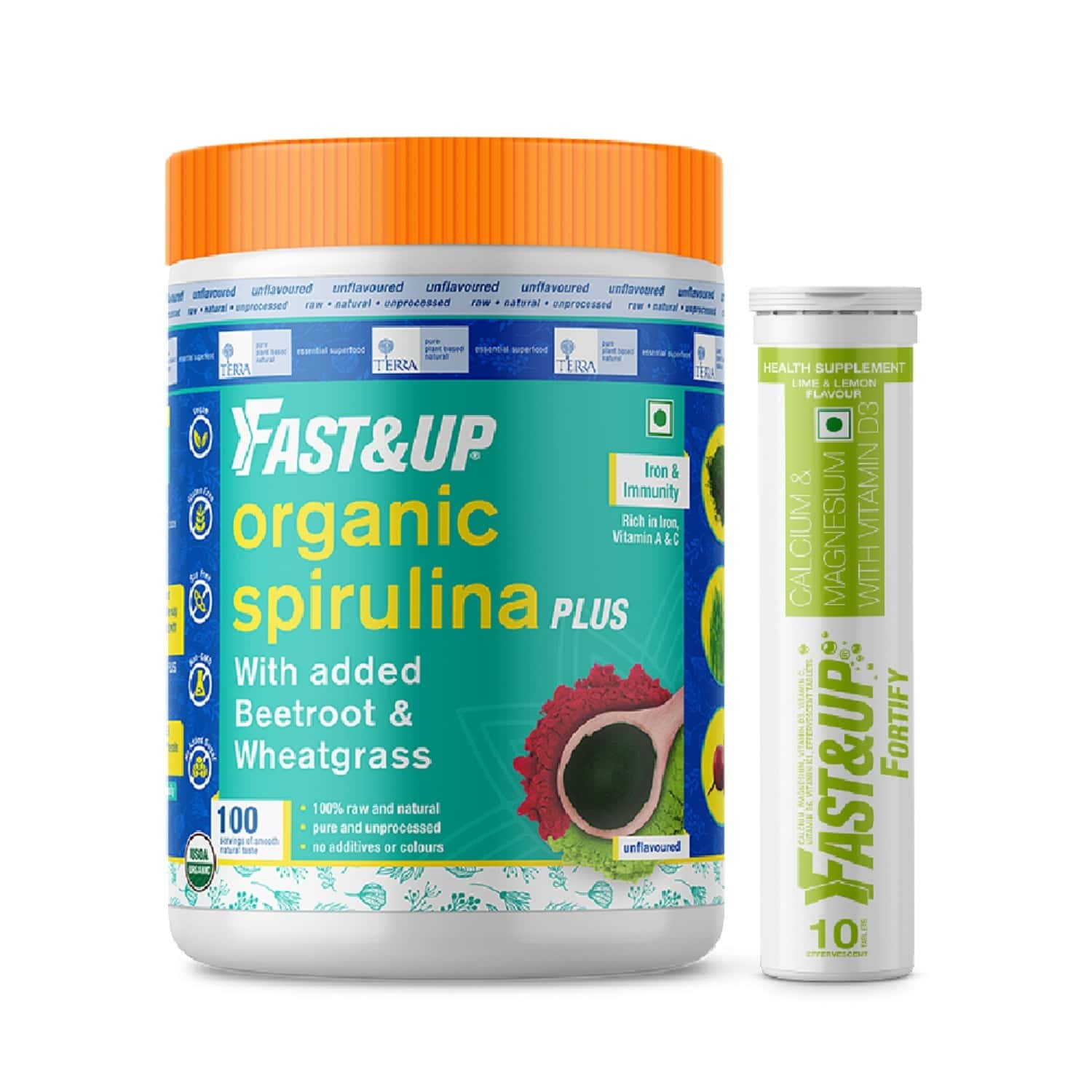 Fast&up Organic Spirulina With Fortify (iron & Bone Care) - 100 Servings
