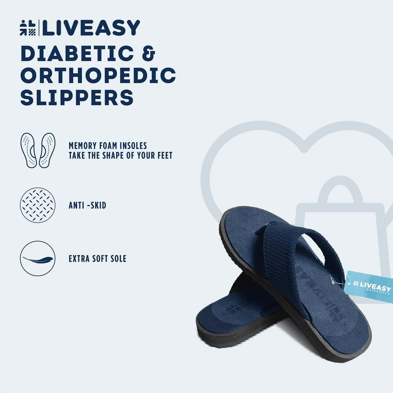 Liveasy Essentials Diabetic & Orthopedic Blue Slippers Men - Size - Uk 9 / Us 10