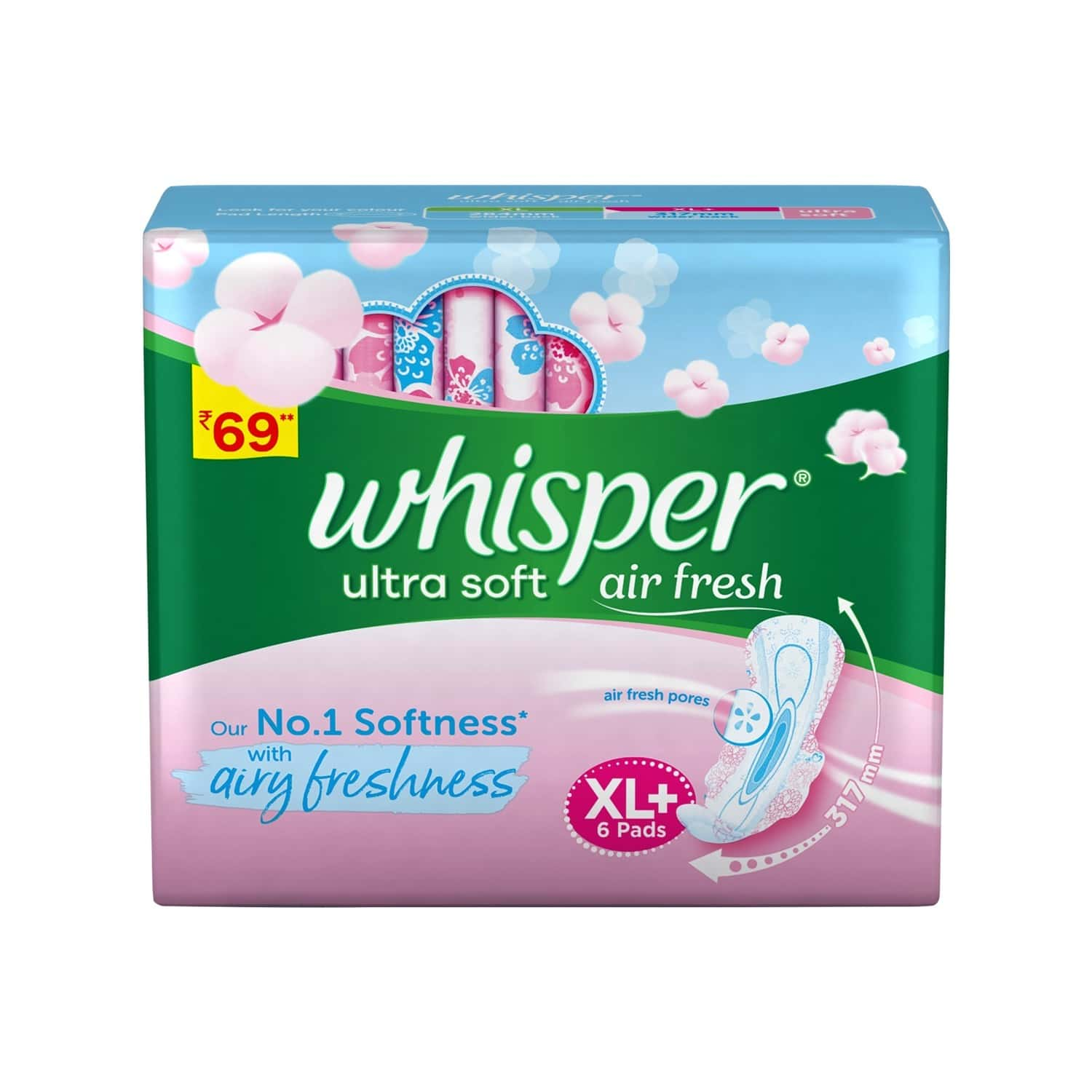 Whisper Ultra Soft Sanitary Pads - Xl Plus - 6 Pieces