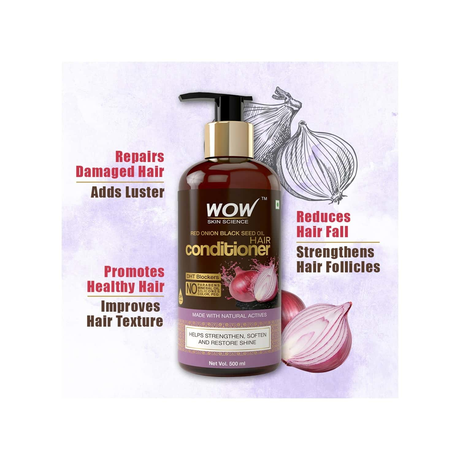 Wow Skin Science Red Onion Black Seed Oil Conditioner  Bottle Of 500 Ml