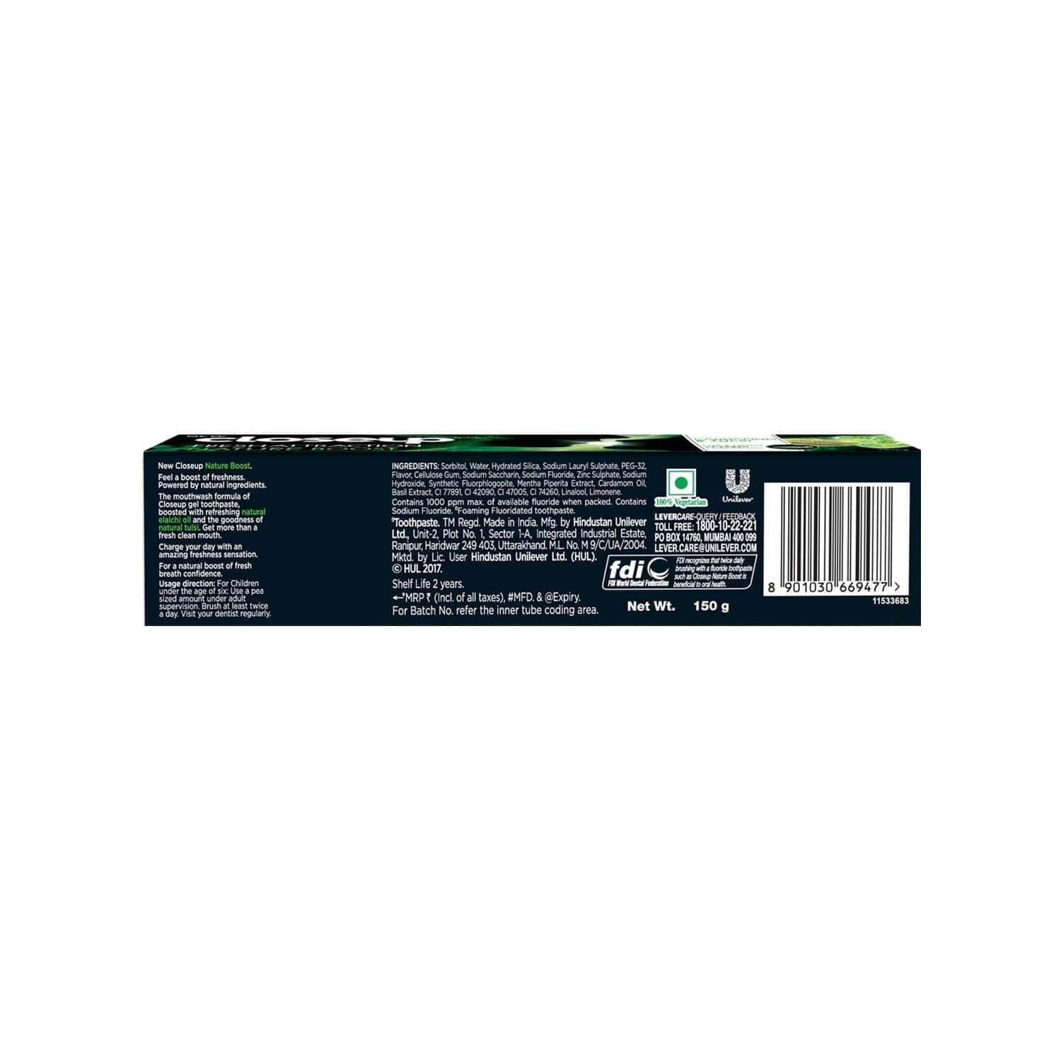 Closeup Fresh Attraction Nature Boost Gel  Toothpaste  Tube Of 150 G