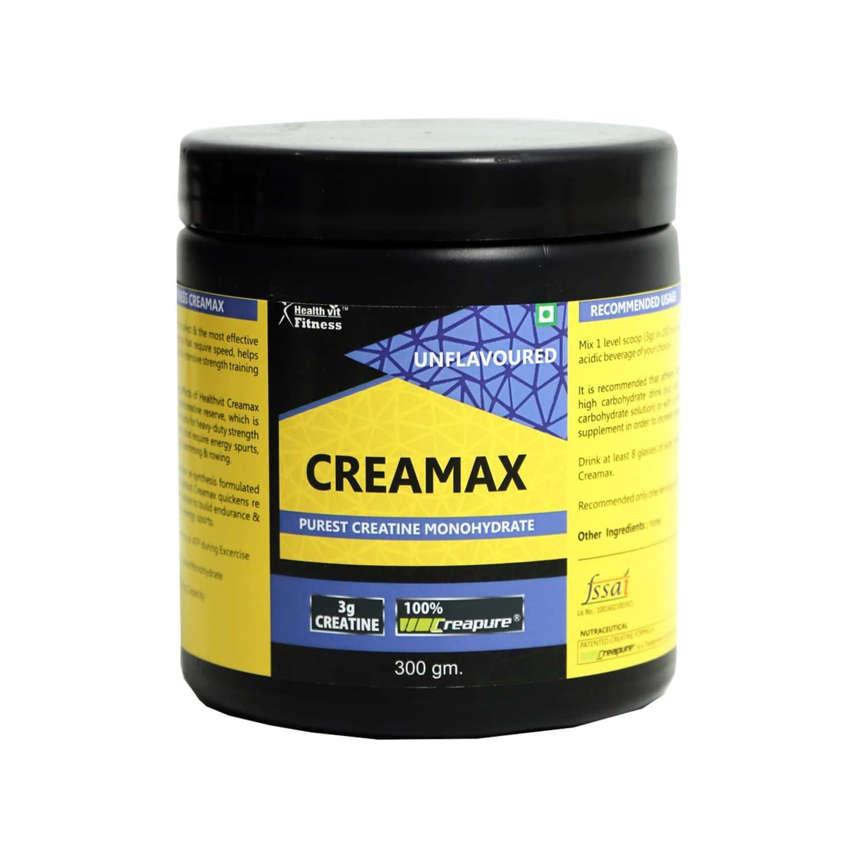 Healthvit Fitness Creamax Creapure German Made Purest Creatine Monohydrate Powder ( Unflavored ) - 300gm