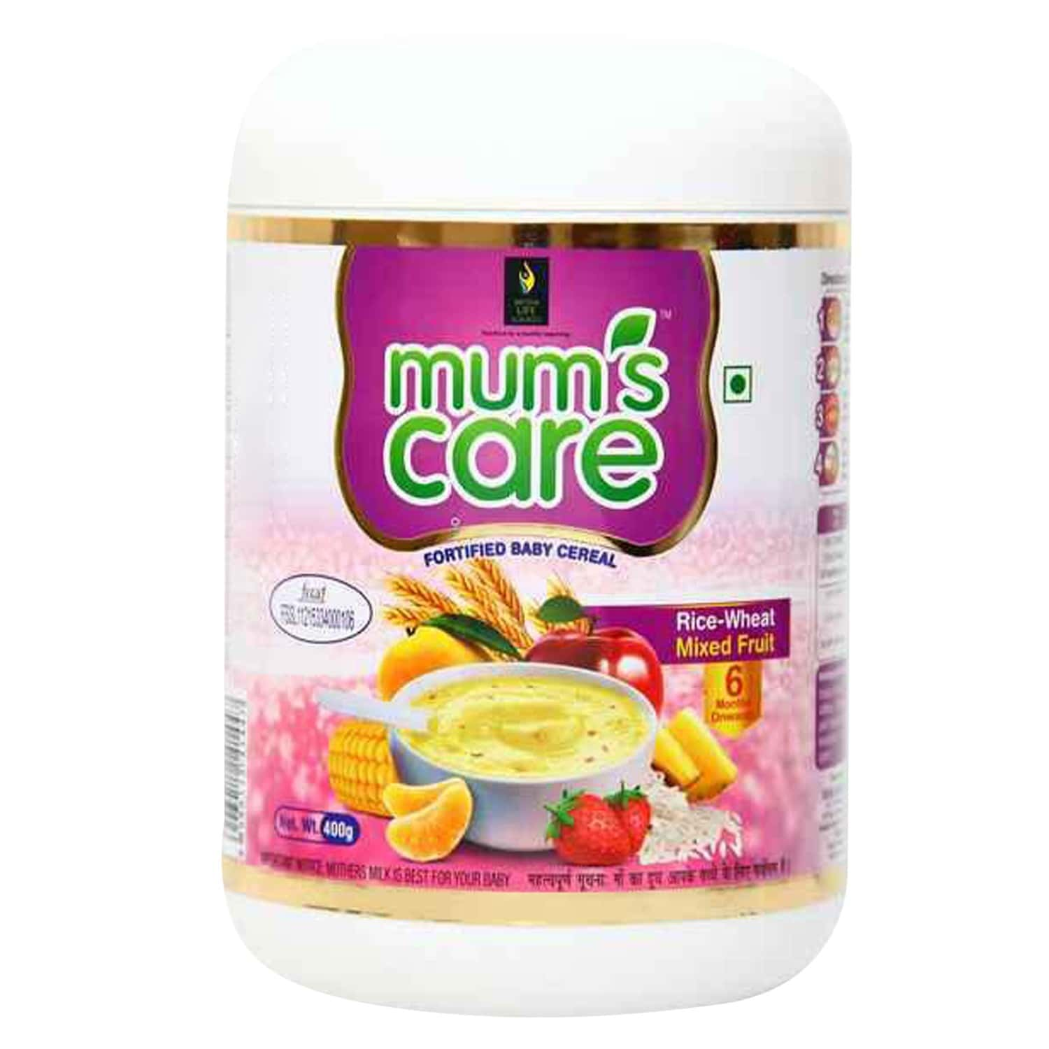 Mums Care Rice Wheat Mixed Fruit Flavour Jar Of 400gm Powder