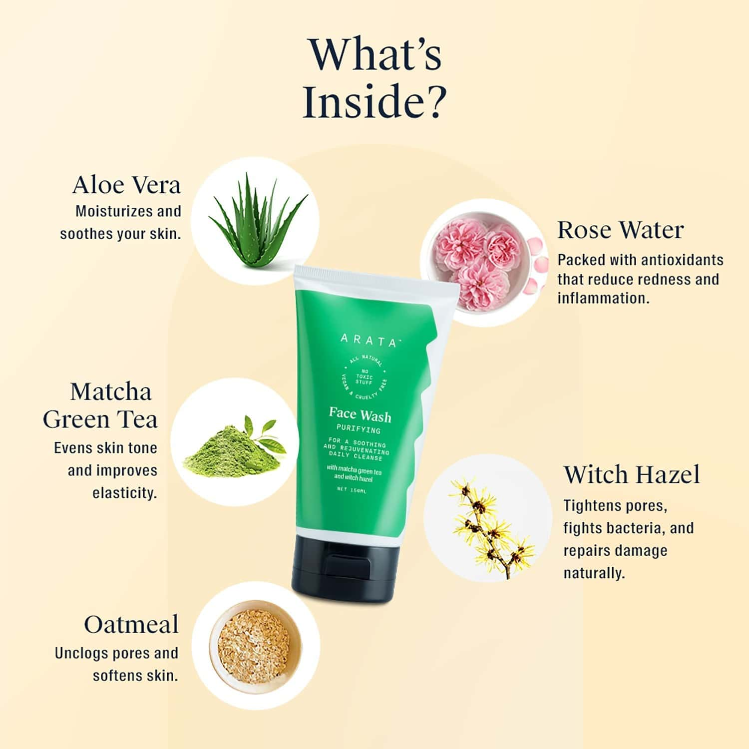 Arata Natural Purifying Face Wash With Matcha Green Tea, Aloe Vera & Witch Hazel For Women & Men ||all-natural, Vegan & Cruelty-free ||for A Soothing & Rejuvenating Daily Cleanse (150 Ml)