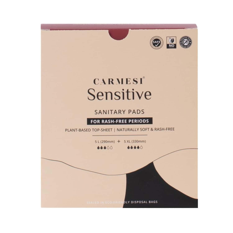 Carmesi Sensitive - Sanitary Pads For Rash-free Periods (5 Large + 5xl)