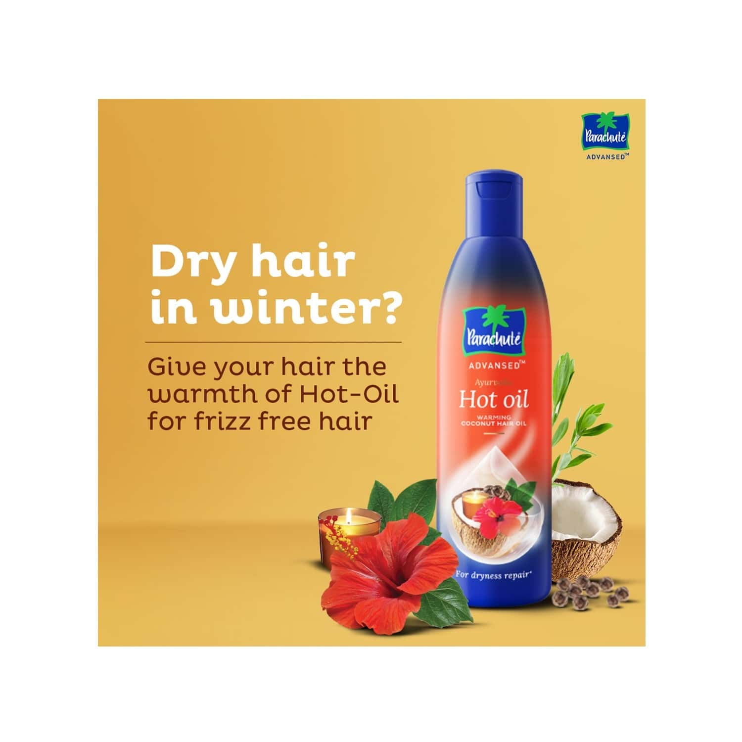 Parachute Advansed Ayurvedic Hot  Hair Oil  Bottle Of 490 Ml (free 90 Ml Pack)