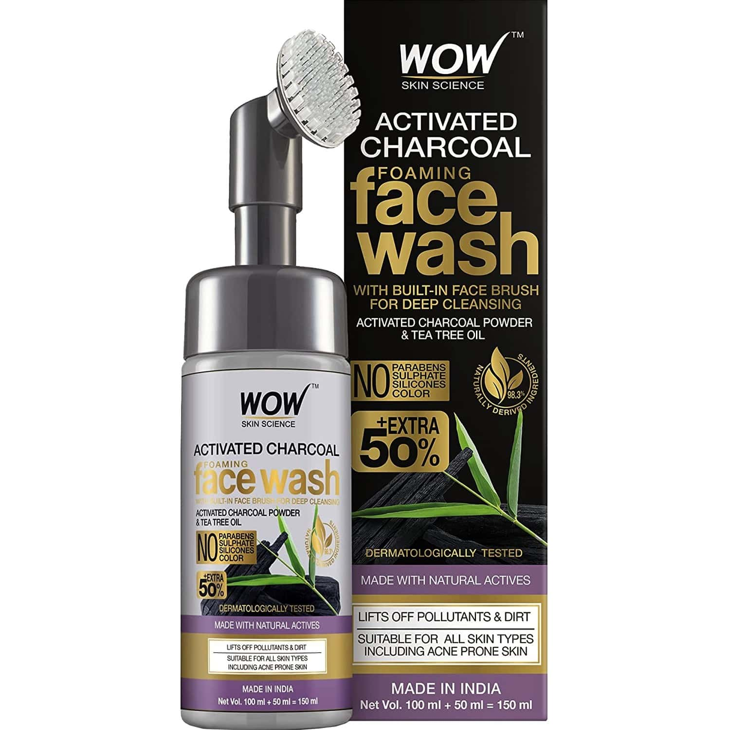 Wow Skin Science Activated Charcoal Foaming Face Wash With Built-in Face Brush - 150 Ml