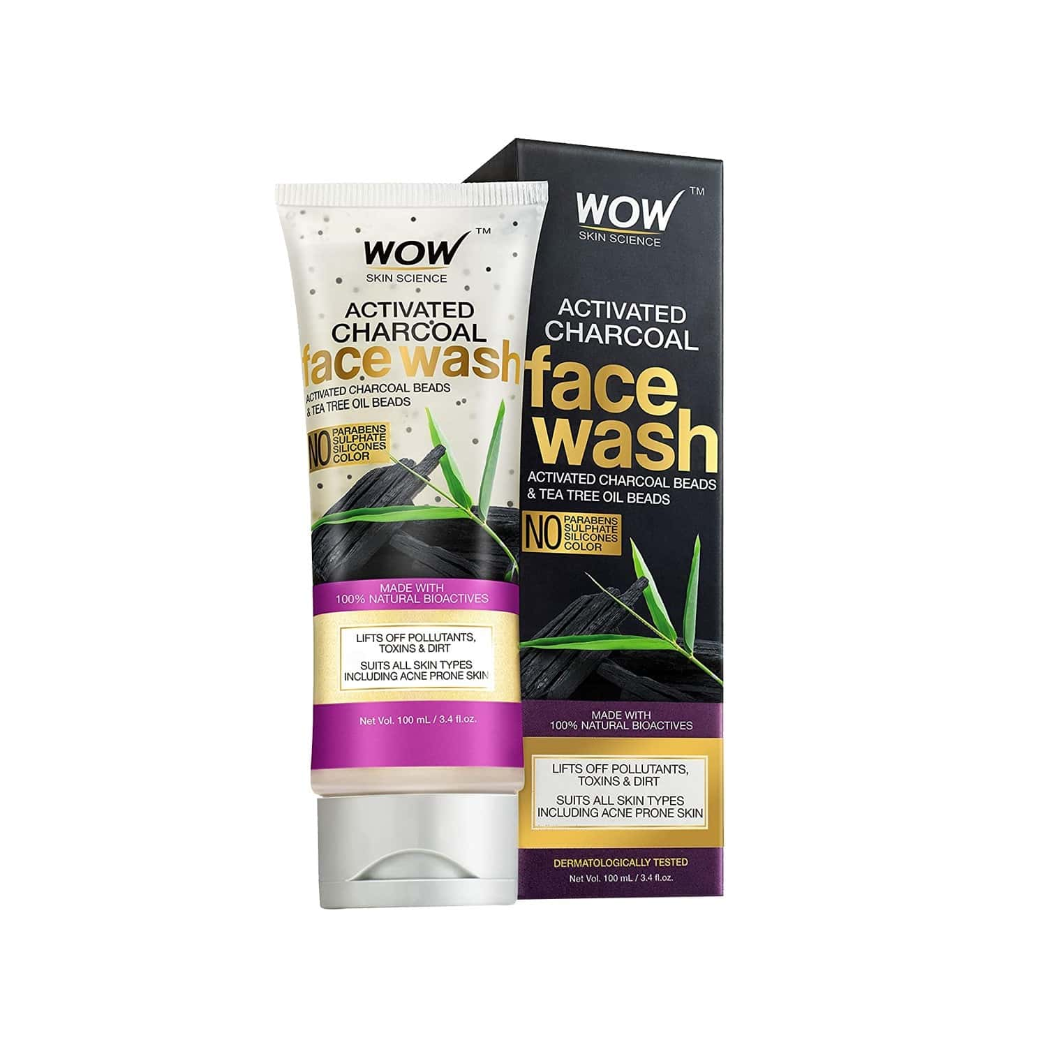 Wow Skin Science Activated Charcoal Face Wash Tube - 100 Ml