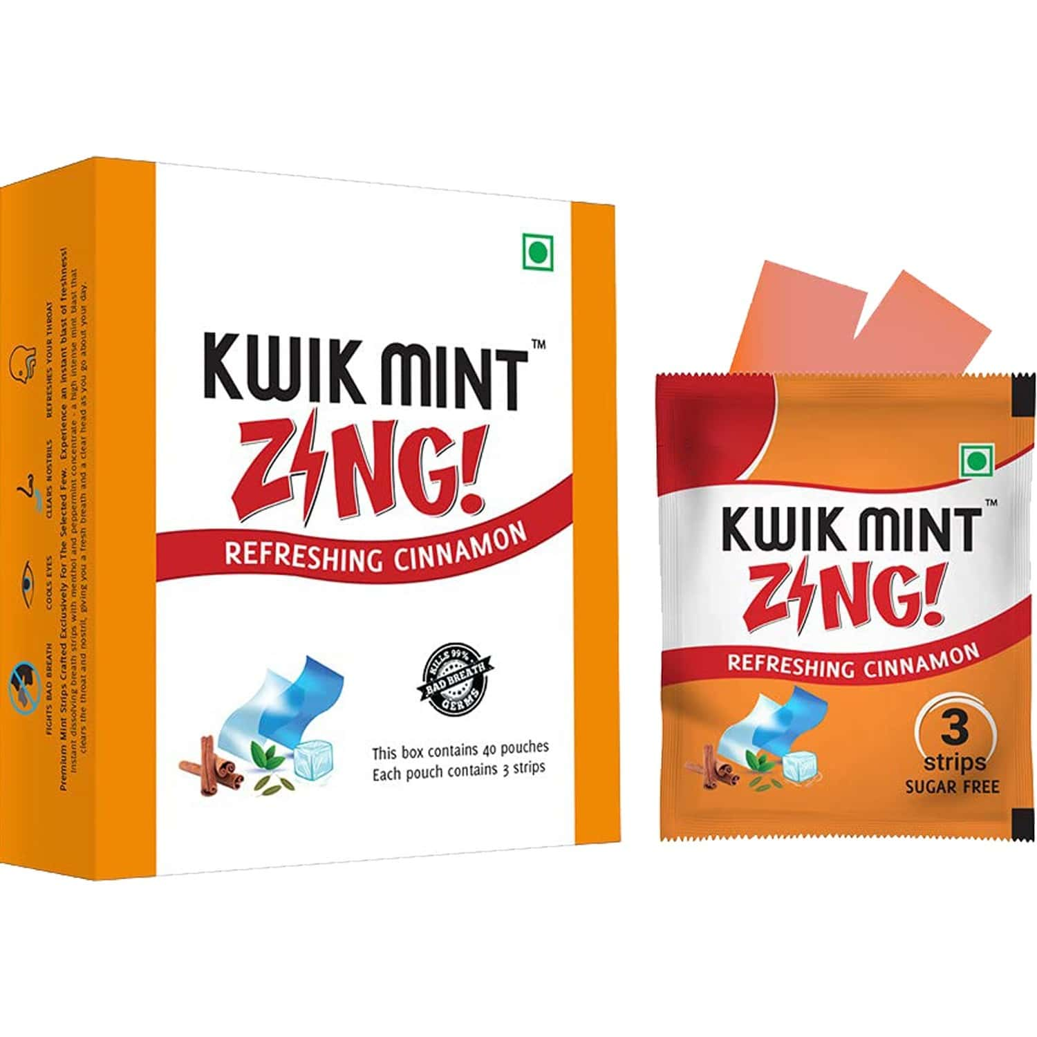 Kwik Mint Instant Action Mouth Freshener Cinnamon Strips - Pack Of 1 (1 X 20 G)
