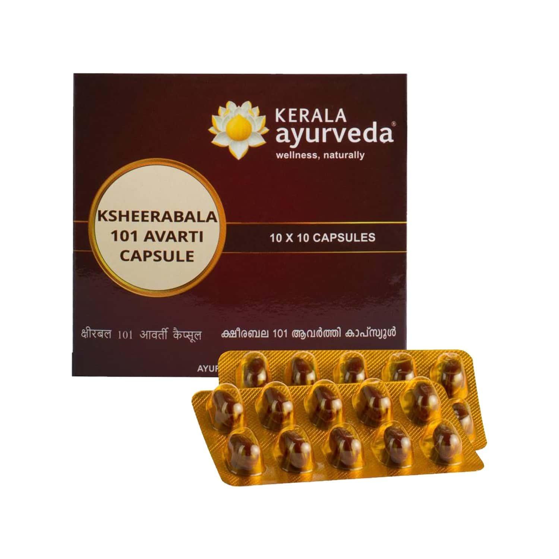 Kerala Ayurveda Ksheerabala 101 Avarti Pain Relief Capsules (10caps X 10) Box Of 100