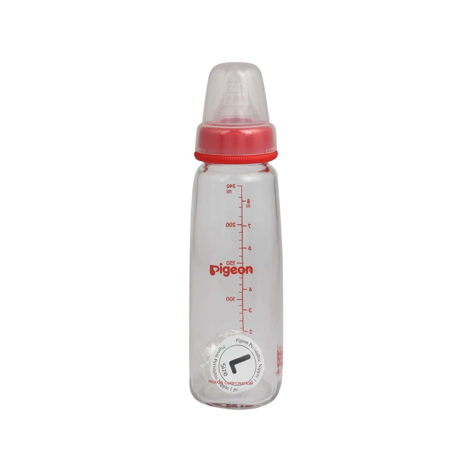 Pigeon Glass Feeding Bottle 240ml Red With Add Nipple L