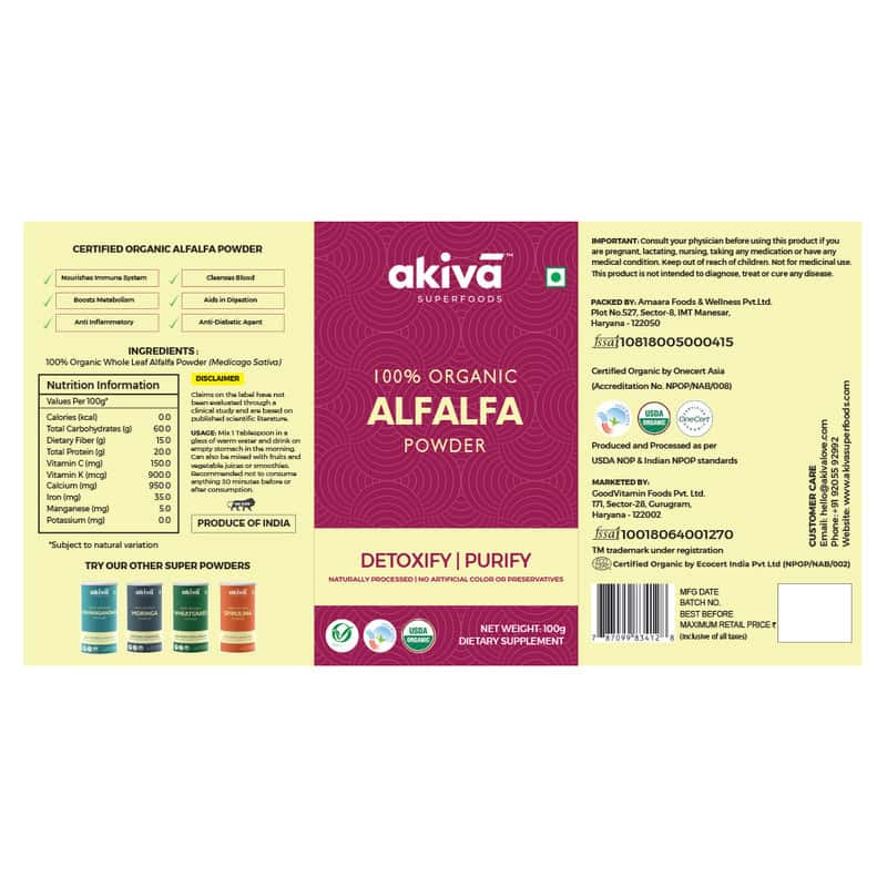 Akiva Superfoods Certified Organic Alfalfa Seeds Powder- 100 Gm - Vegan Supplement