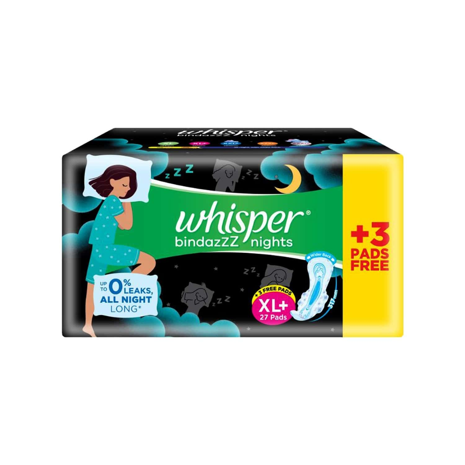 Whisper Bindazzz Nights Xl Plus - 27 Pads With 3 Free Pads