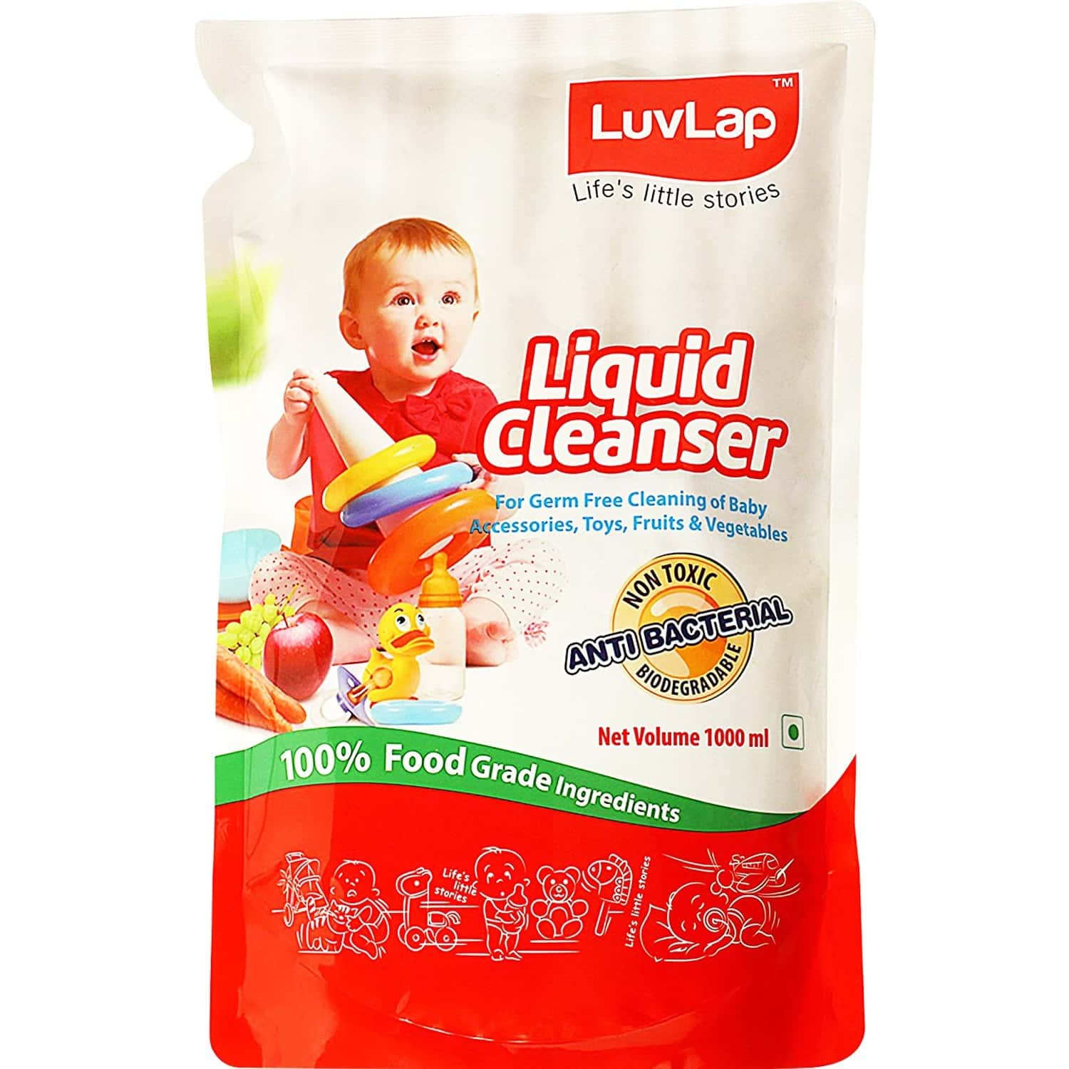 Luvlap Liquid Cleanser Refill, Anti-bacterial, For Baby Bottles, Accessories And Vegetables, 1000ml