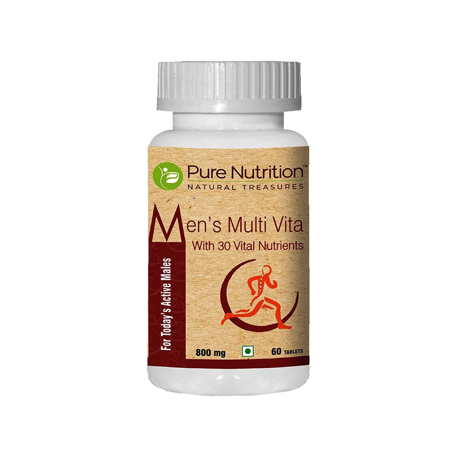 Pure Nutrition Mens Multi Vita, Fortified With 30 Bioactive Vital Nutrients With Ginseng Extracts, Omega 3 And Multi Minerals - 60 Tablets