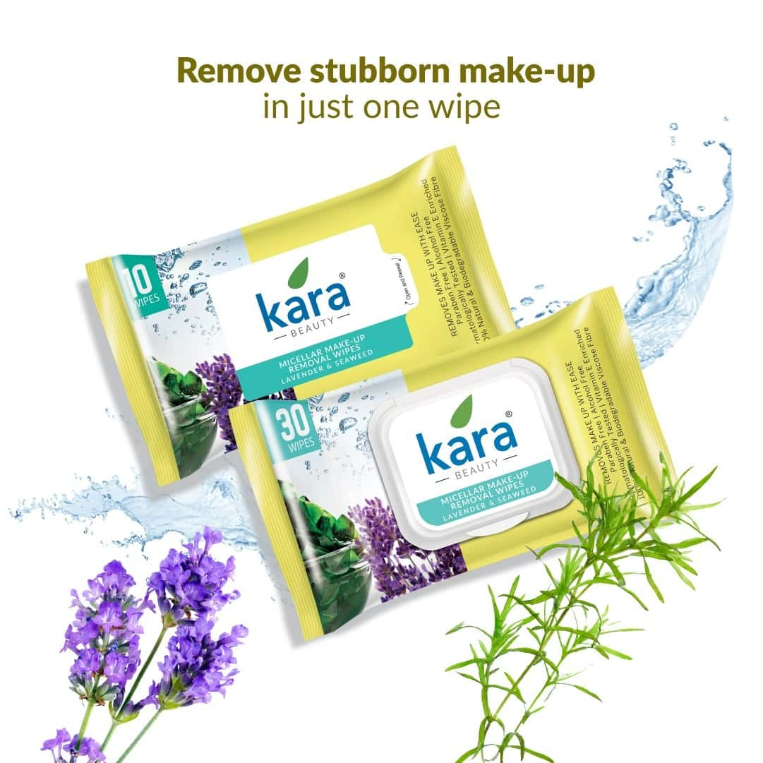 Kara Micellar Water Makeup Removal Wipes With Seaweed And Lavender - (30 Wipes)