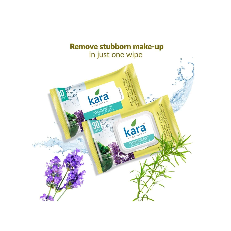 Kara Micellar Water Makeup Removal Wipes With Seaweed And Lavender - (30 Wipes)
