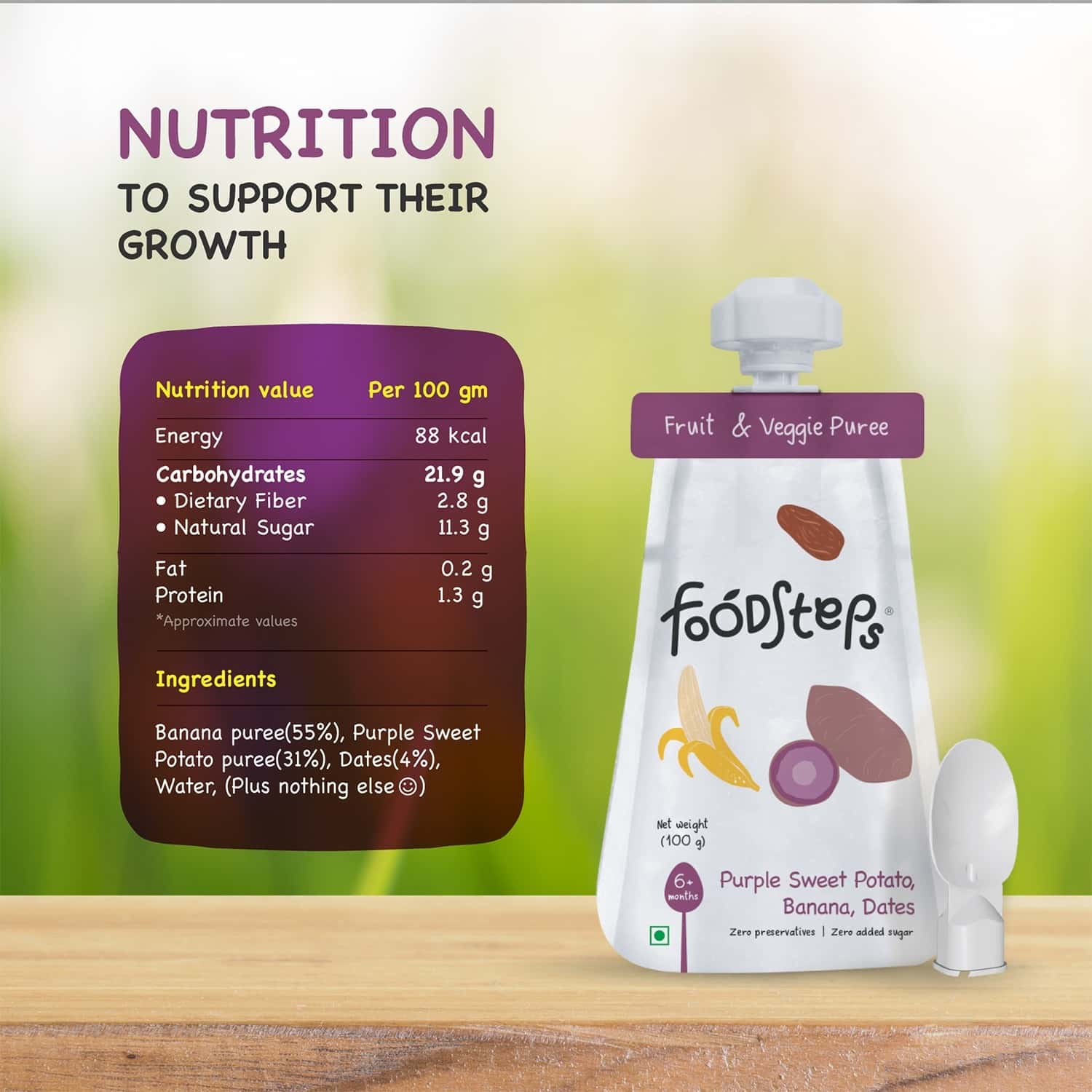 Food Steps Baby Food For 6 Month+ Baby - Purple Sweet Potato, Banana, Dates Puree - Pack Of 3 (100 Gm Each) - All Natural, Safe, No Sugar - With Attachable Spoon