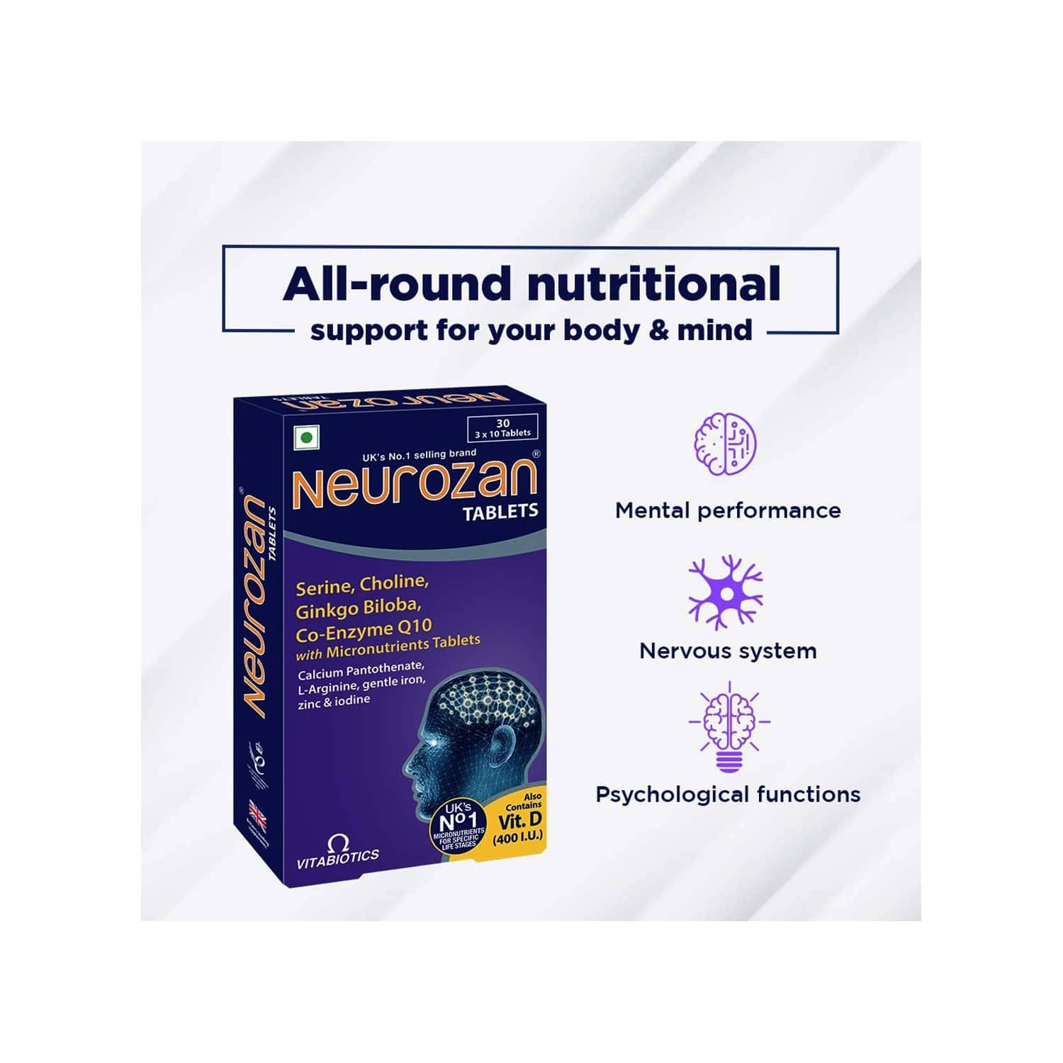 Neurozan - Health Supplements (23 Micronutrients Including Botanical Extract Of Ginkgo Bilobo) With Wellman 30 Tablet Free