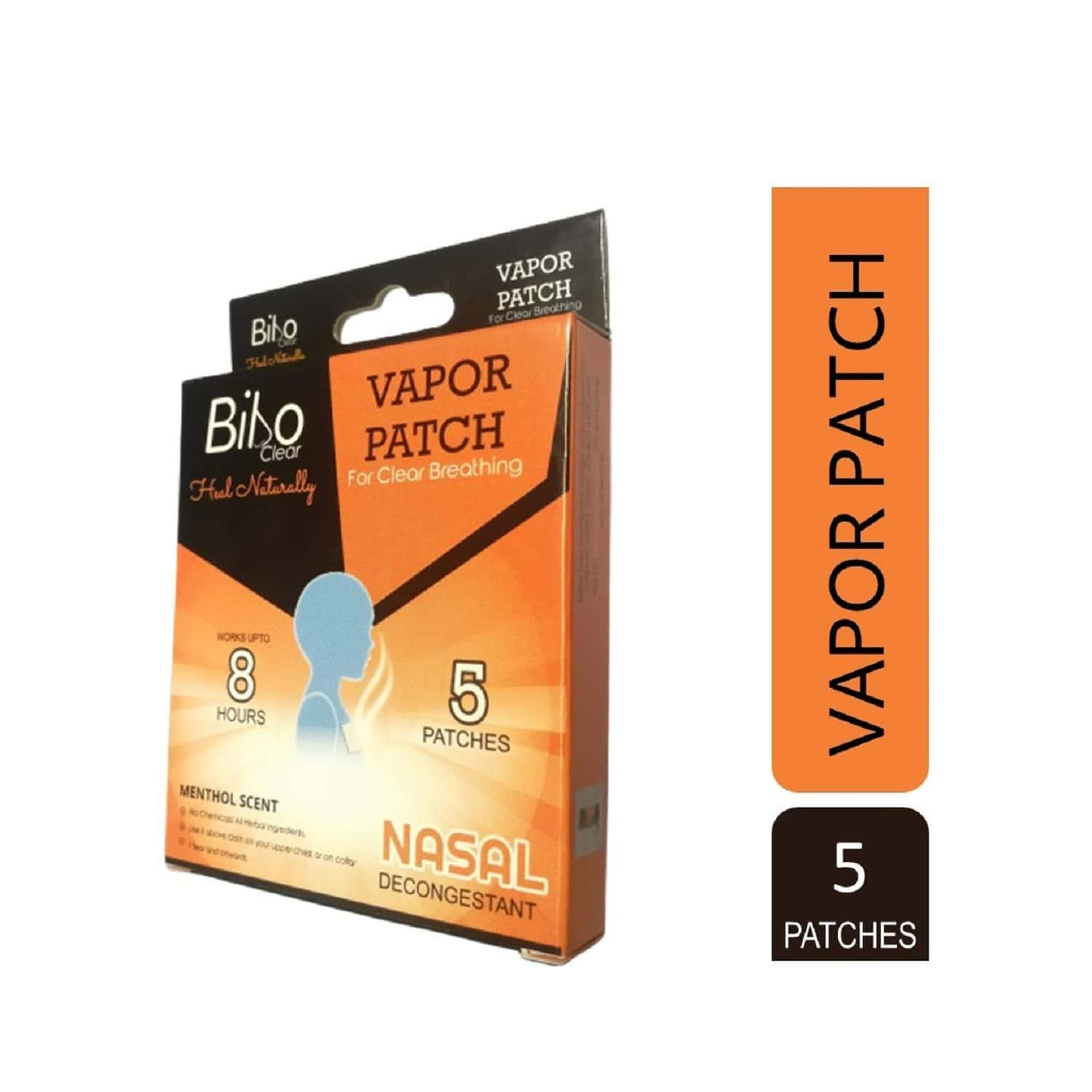 Bibo Clear Vapour Patch - A Hands' Free Inhaler - 1 Pack Of 5 Patches