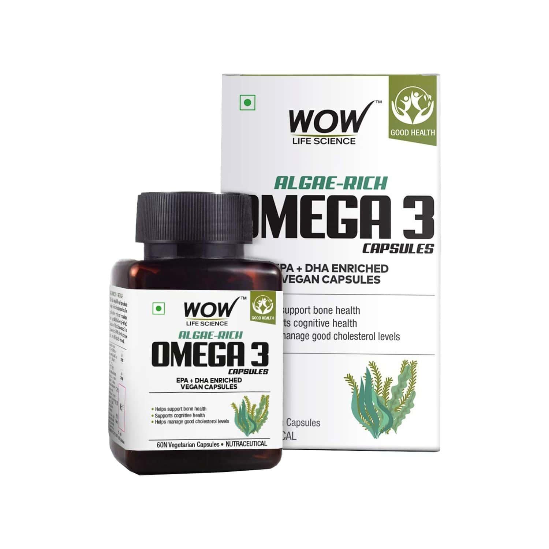 Wow Life Science Algae - Rich Omega 3 - 60 Vegetarian Capsules