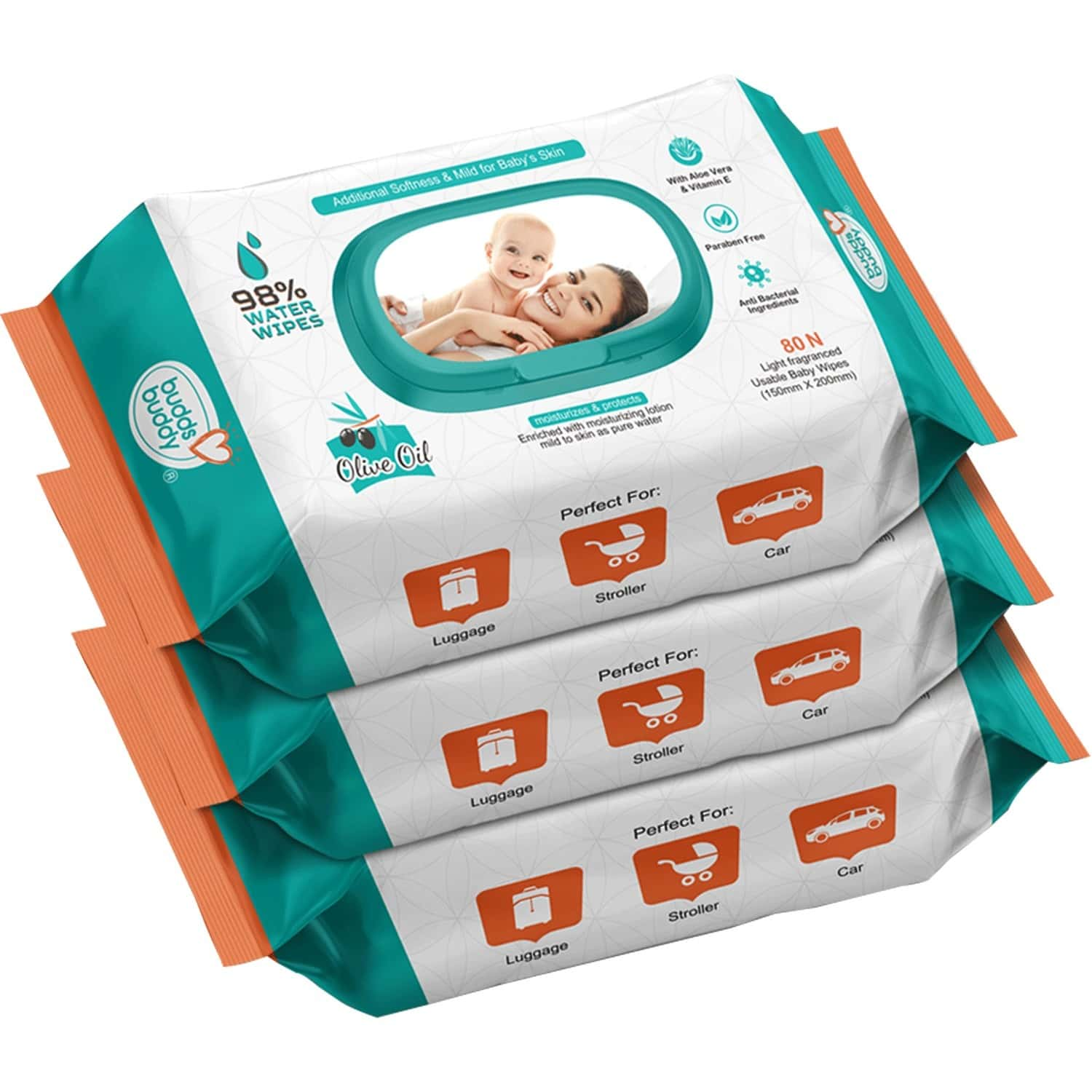 Buddsbuddy Combo Of 3 Skincare Baby Wet Wipes With Lid Contains Aloe Vera- 80 Pieces Each