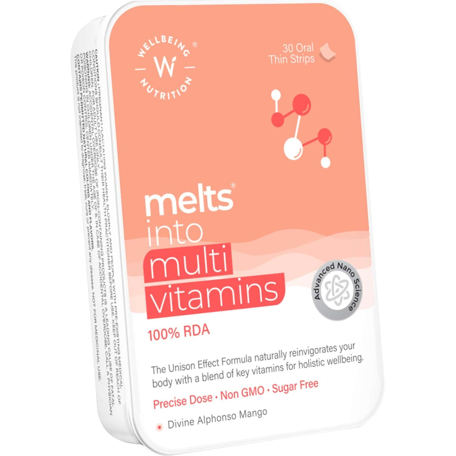 Wellbeing Nutrition Melts Complete Plant Based Multivitamin - 30 Oral Strips Box
