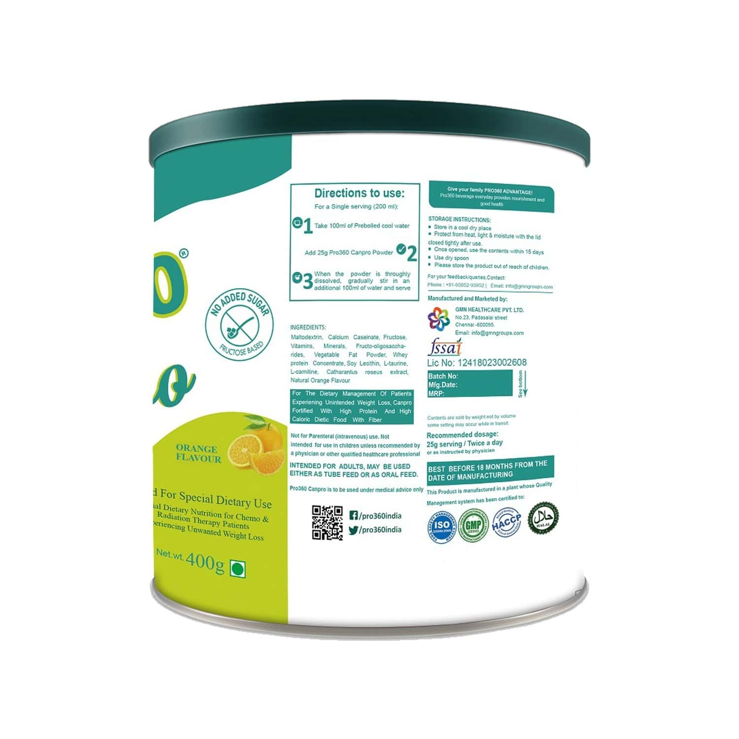 Pro360 Canpro Nutritional Supplement Powder For Onco Care - Orange Flavour - 400gm