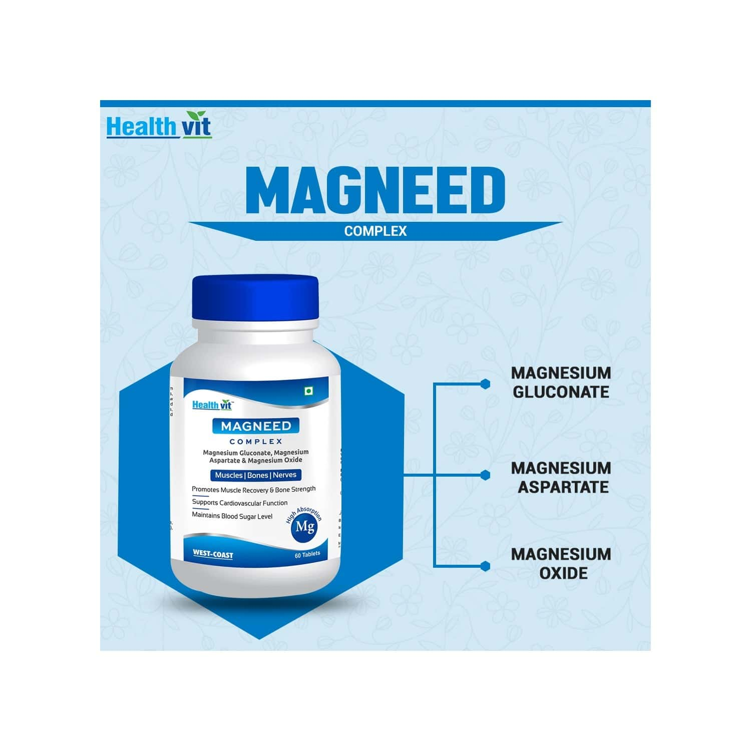 Healthvit Magneed Complex High Absorption Mg -60 Tablets