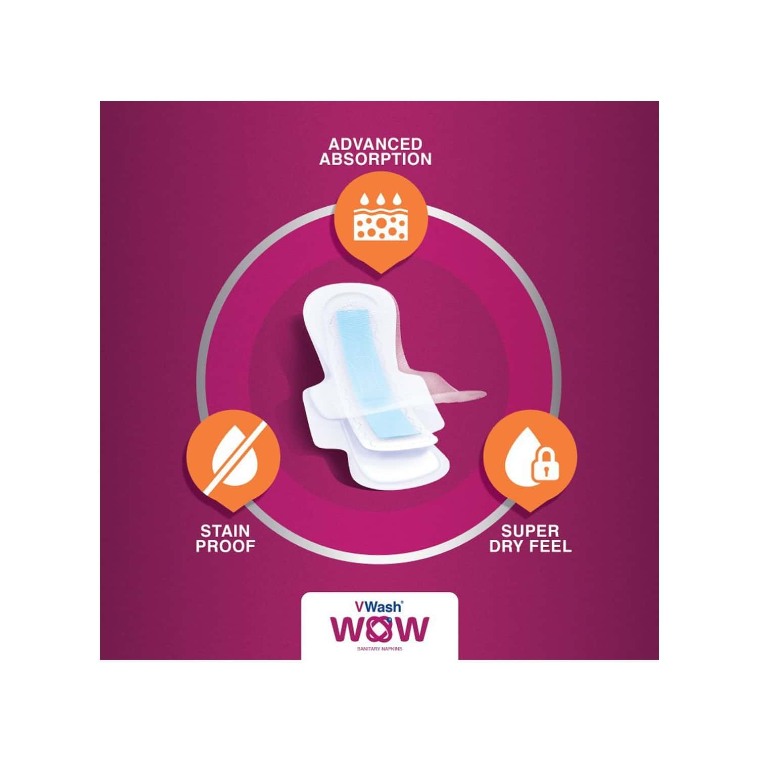 Vwash Wow Ultra Thin Size L Sanitary Pads Pack Of 48 (packs Of 3x16)