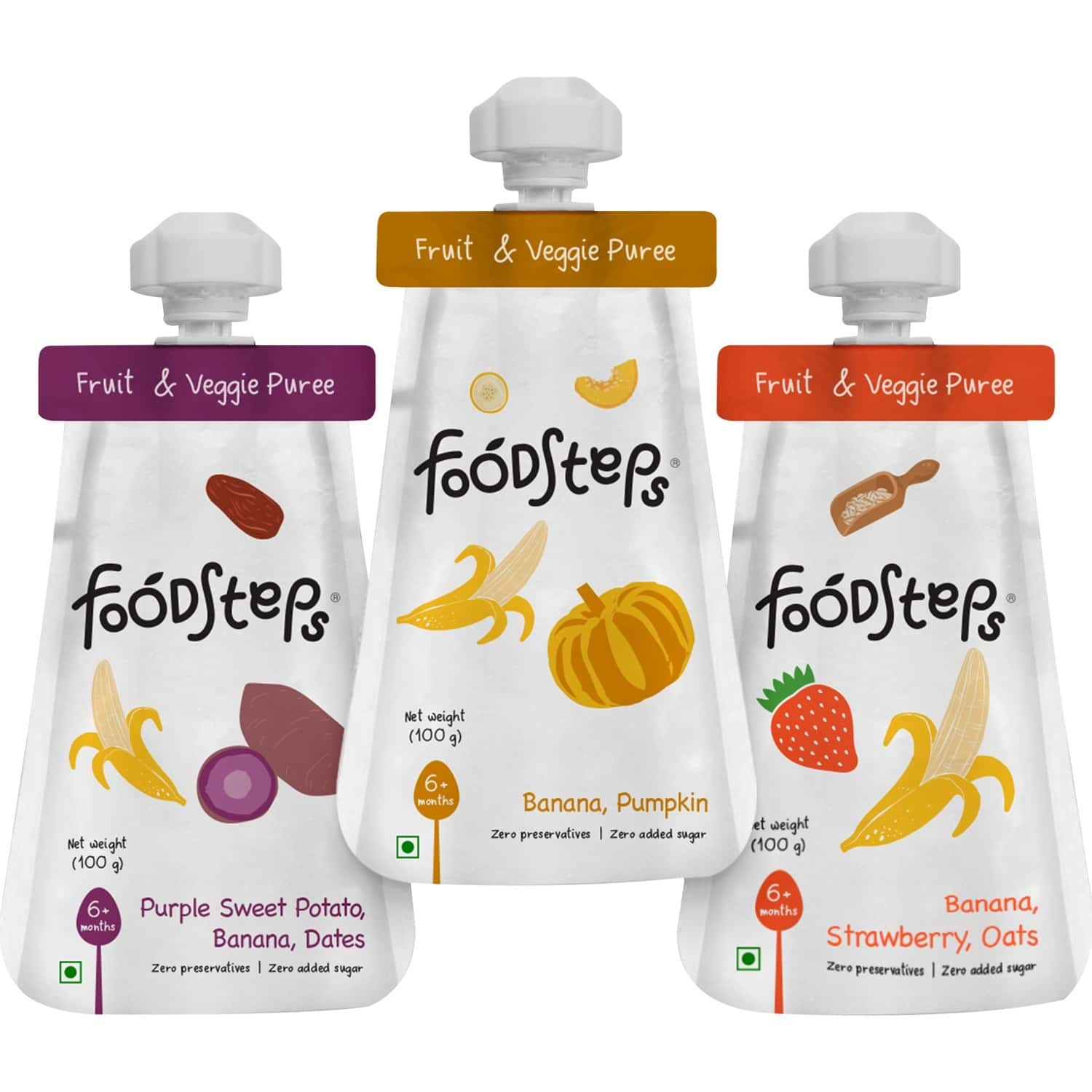 Food Steps Baby Food For 6 Month+ Baby - Assorted - Pack Of 3 (100 Gm Each)