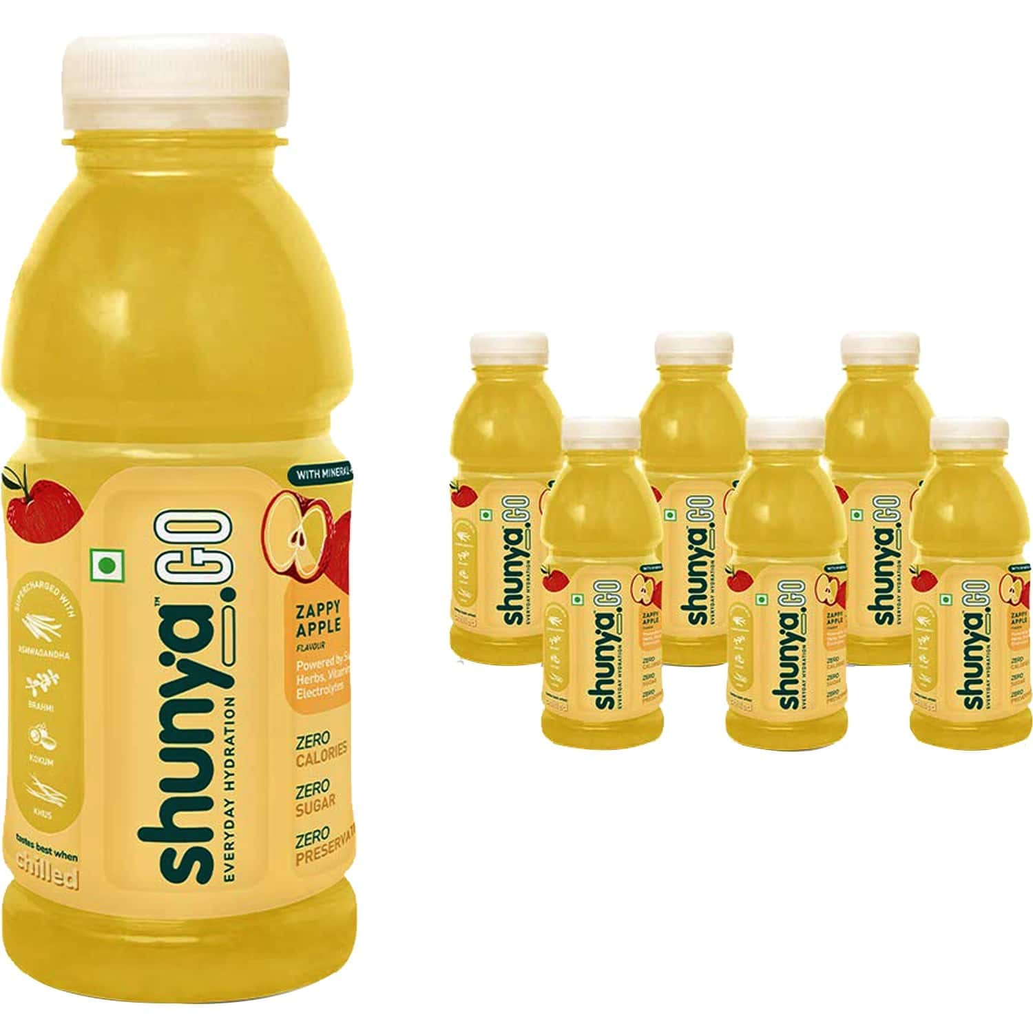 Shunya Go Zappy Apple   Active Hydration Drink With 0 Calories, 0 Sugar, 0 Preservatives Pack Of 6 (300ml X 6)