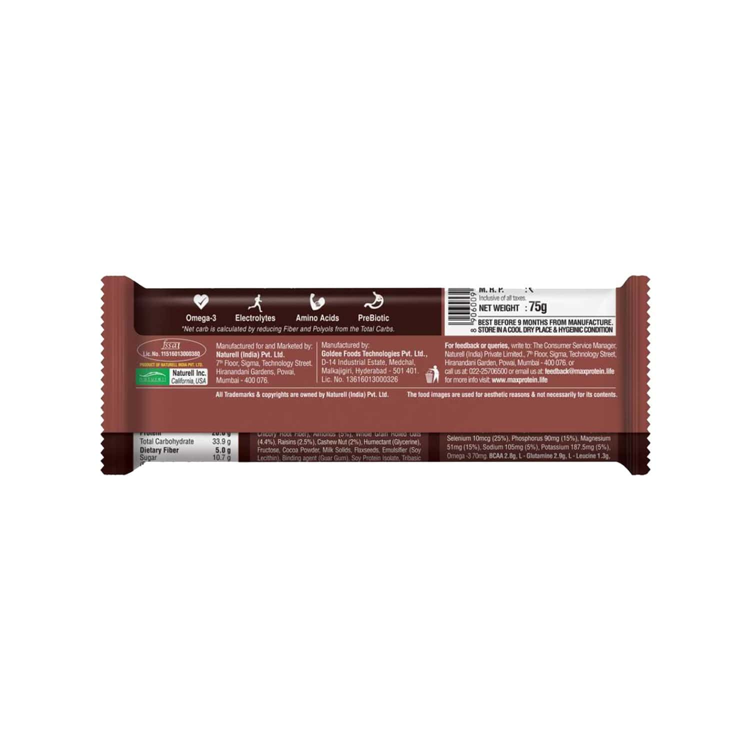 Ritebite Max Protein Active Choco Fudge Nutrition Bar Packet Of 75 G