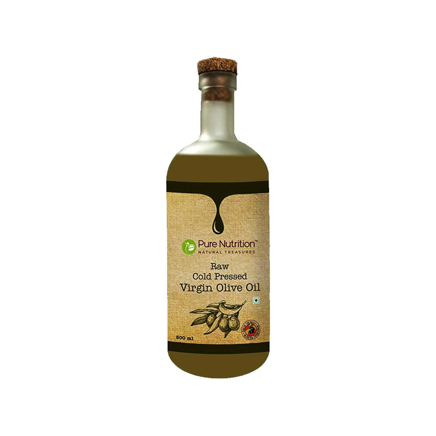Pure Nutrition Extra Virgin Olive Oil, Raw Cold Pressed, Edible Premium Grade, Ideal For Dressing & Garnishing - 500ml Glass Bottle