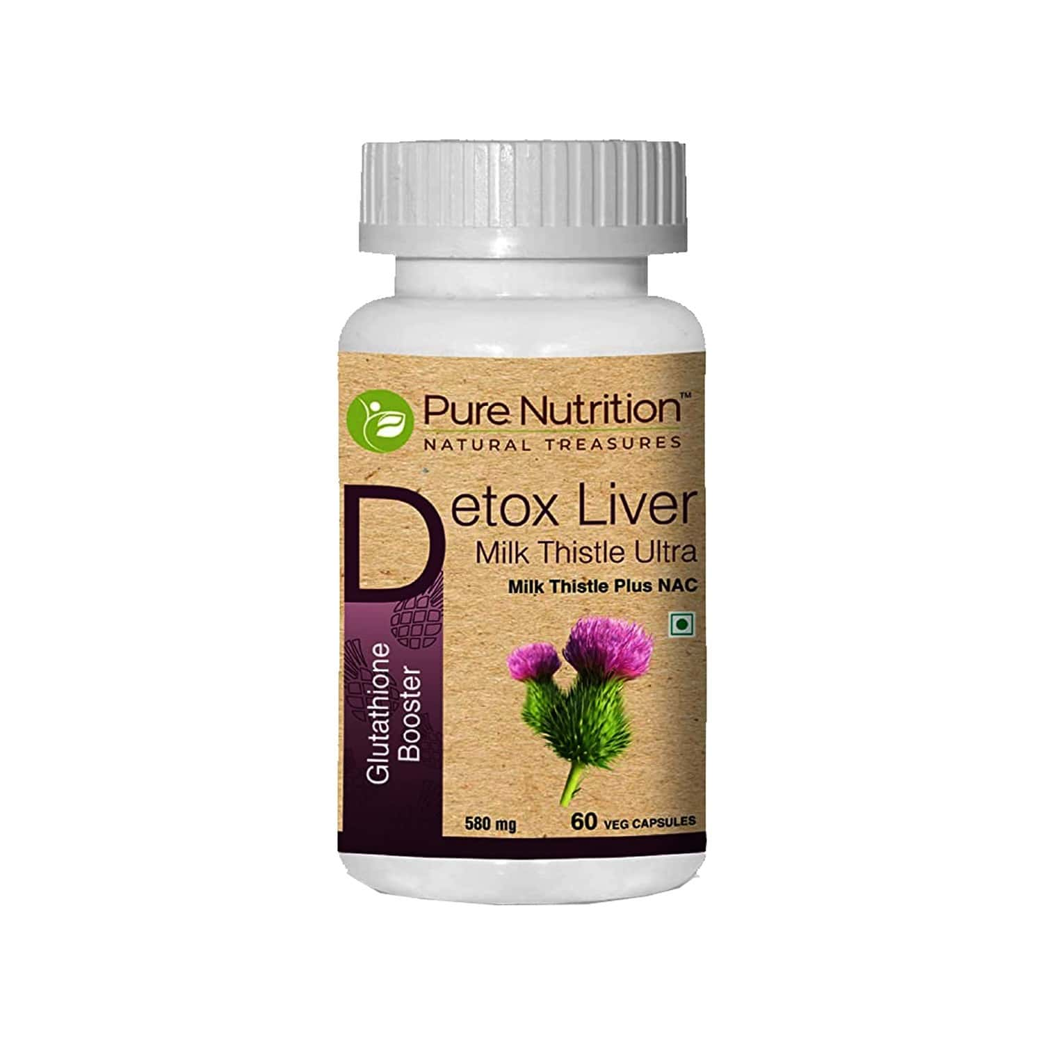 Pure Nutrition Detox Liver Milk Thistle Ultra (glutathione Booster), Support Healthy Liver Function For Men And Women, With Milk Thistle (250mg), Nac (150mg) & Vitamin C - 60 Veg Capsules