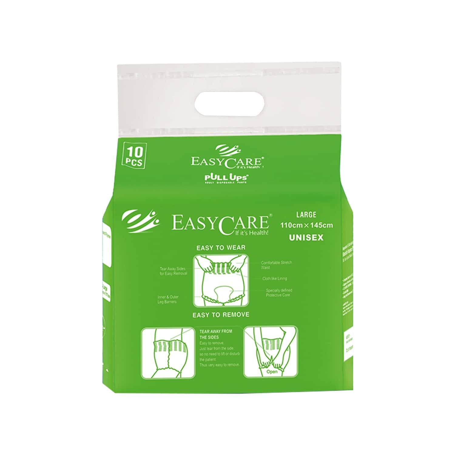Easycare Disposable Adult Diaper Pants (pull Up) Pack Of 10 Large (110 X 145 Cm) Fit & Flex Makes Life Easier