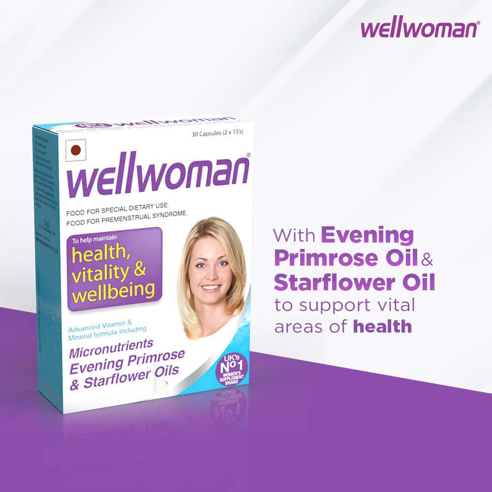 Wellwoman - Health Supplements - Micronutrients, Evening Primrose Oil And Starflower Oil - 30 Tablets