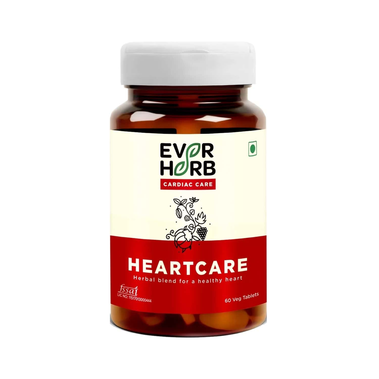 Everherb Heartcare - Blend Of 6 Powerful Herbs - Controls Blood Pressure - Bottle Of 60