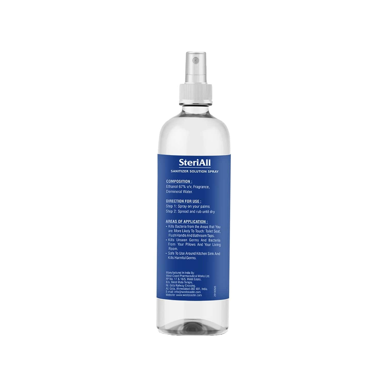 Steriall Alcohol Based Hand Sanitizer Solution Spray For Office And Home 200ml ( Pack Of 1 With 2 Refill Pack )