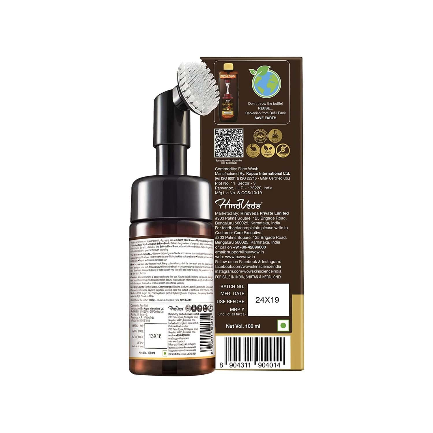 Wow Skin Science Moroccan Argan Oil Face Wash With Built-in Brush - 100 Ml