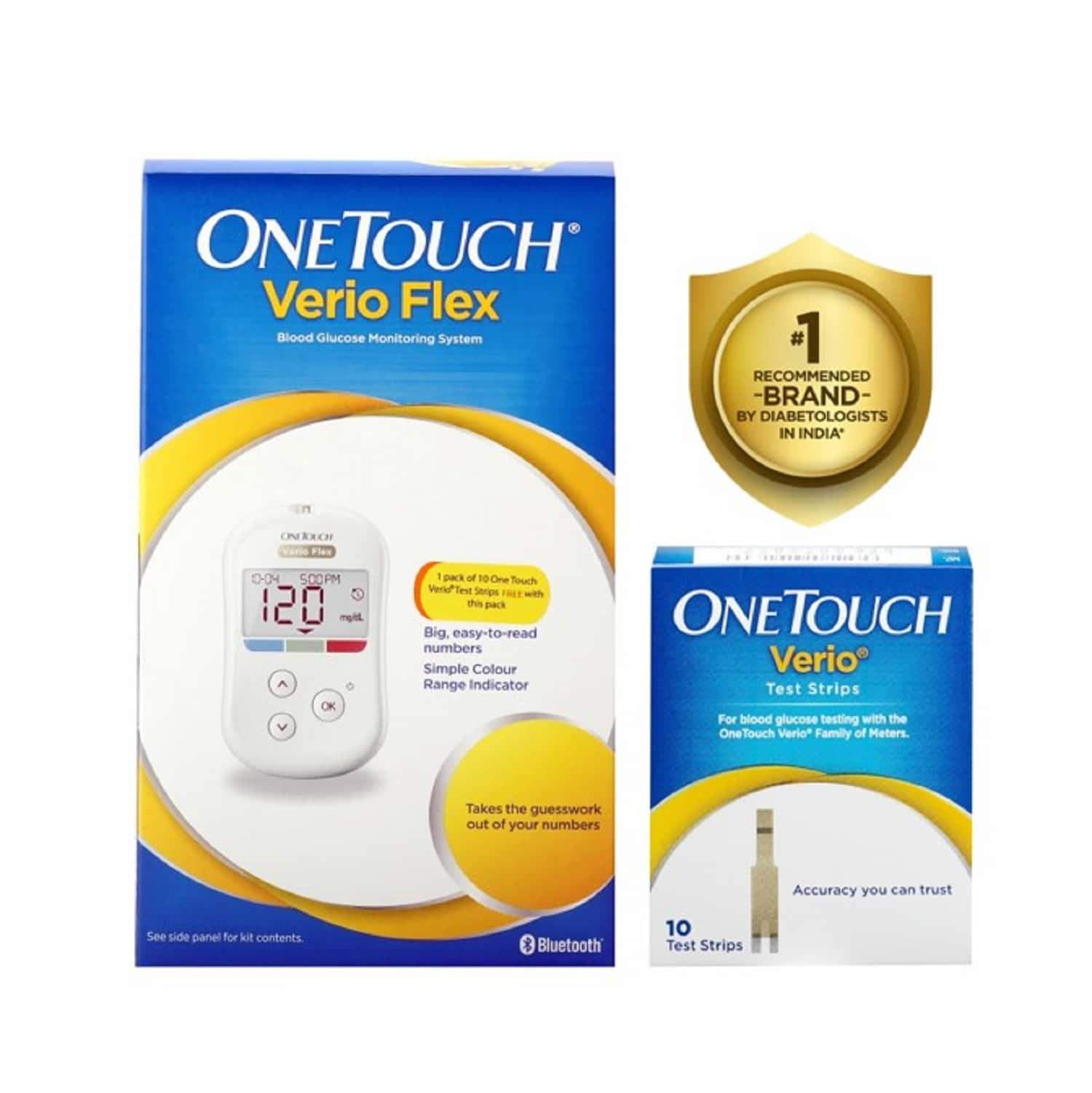 One Touch Verio Flex Glucometer With 10 Free Strips