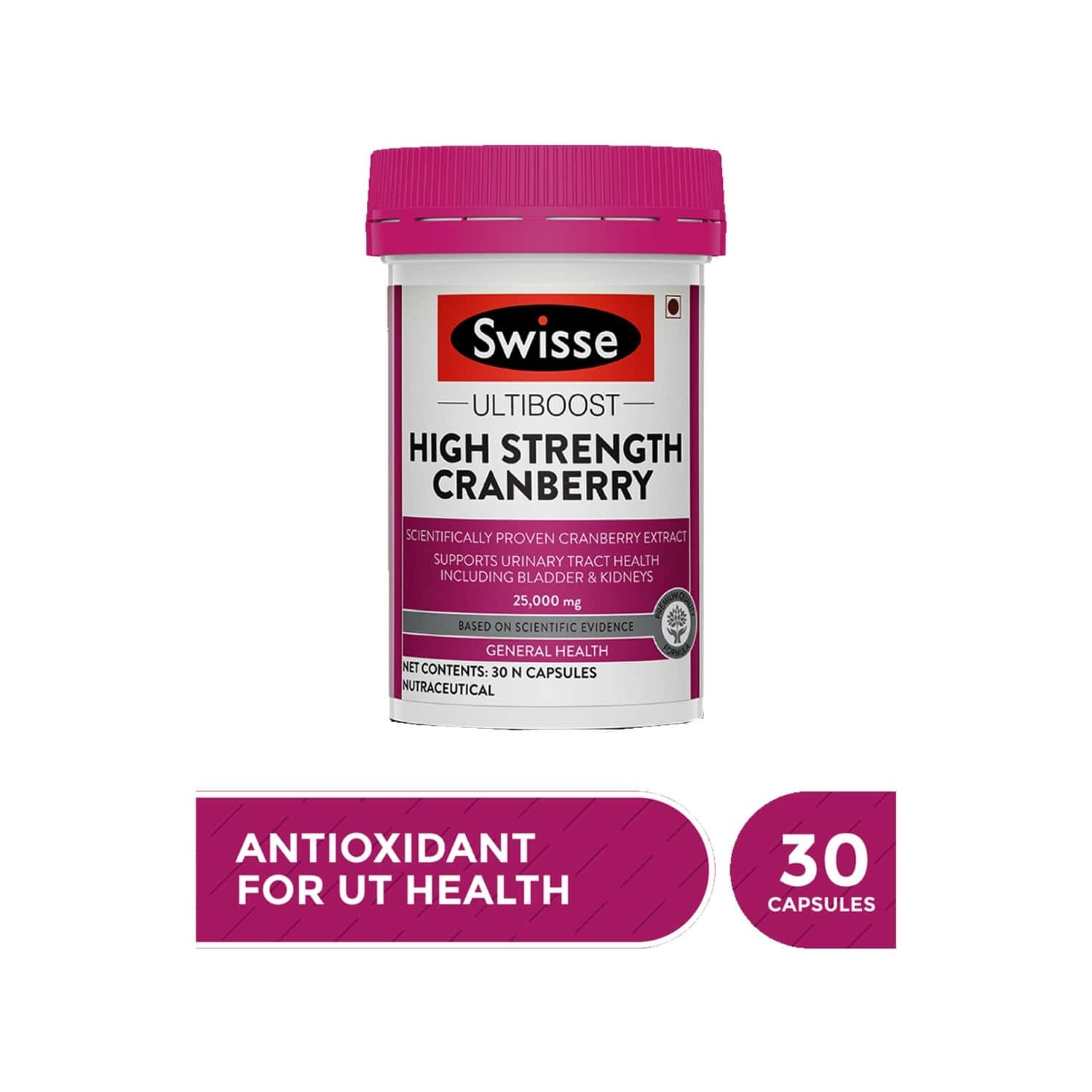 Swisse Ultiboost High Strength Cranberry Antioxidant Rich Supplements For Bladder & Kidney Health - 30 Tablets