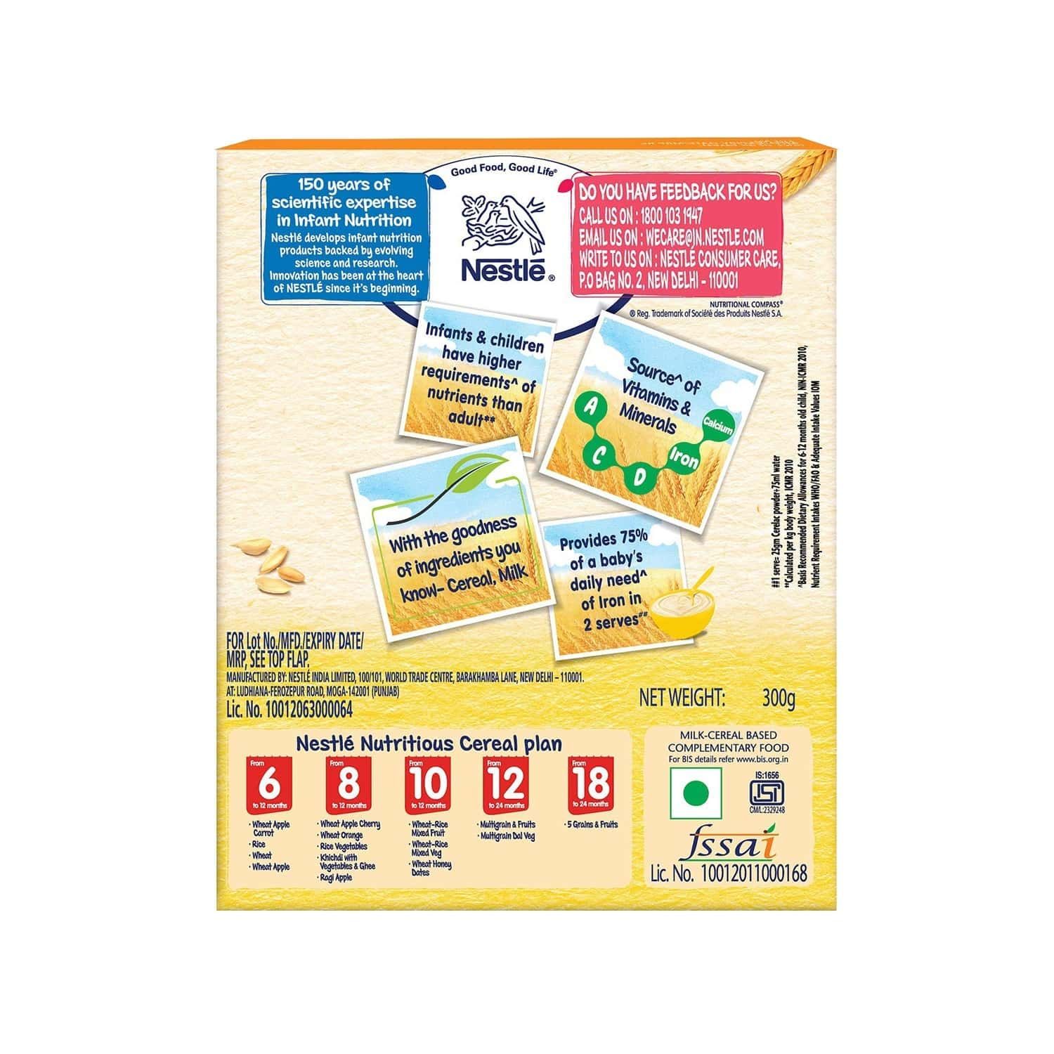 Nestle Cerelac Baby Food Milk Wheat (from 6 Months) Box Of 300 G