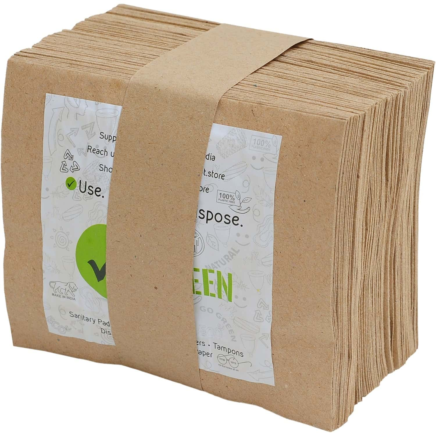 The Green Dot Wastepaper Pouch For Sanitary & Garbage Disposal - Pack Of 100