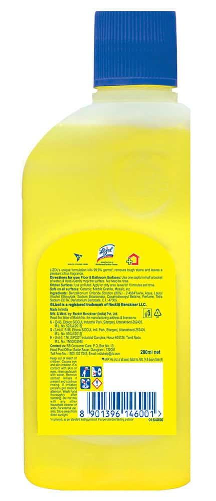 Lizol Citrus Disinfectant Floor Cleaner Liquid Bottle Of 200 Ml