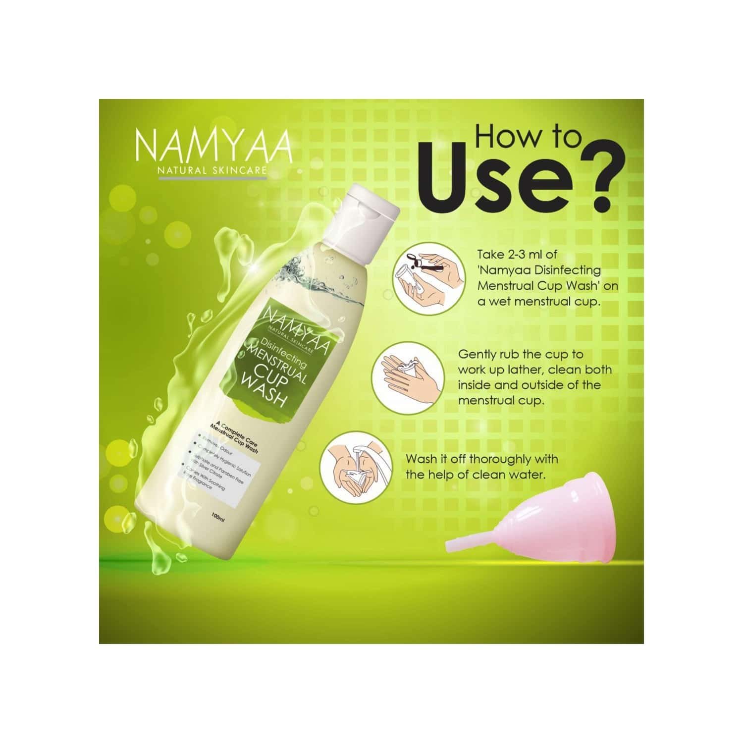 Namyaa Disinfecting Menstrual Cup Wash-paraben & Sulphate Free - 100 Ml
