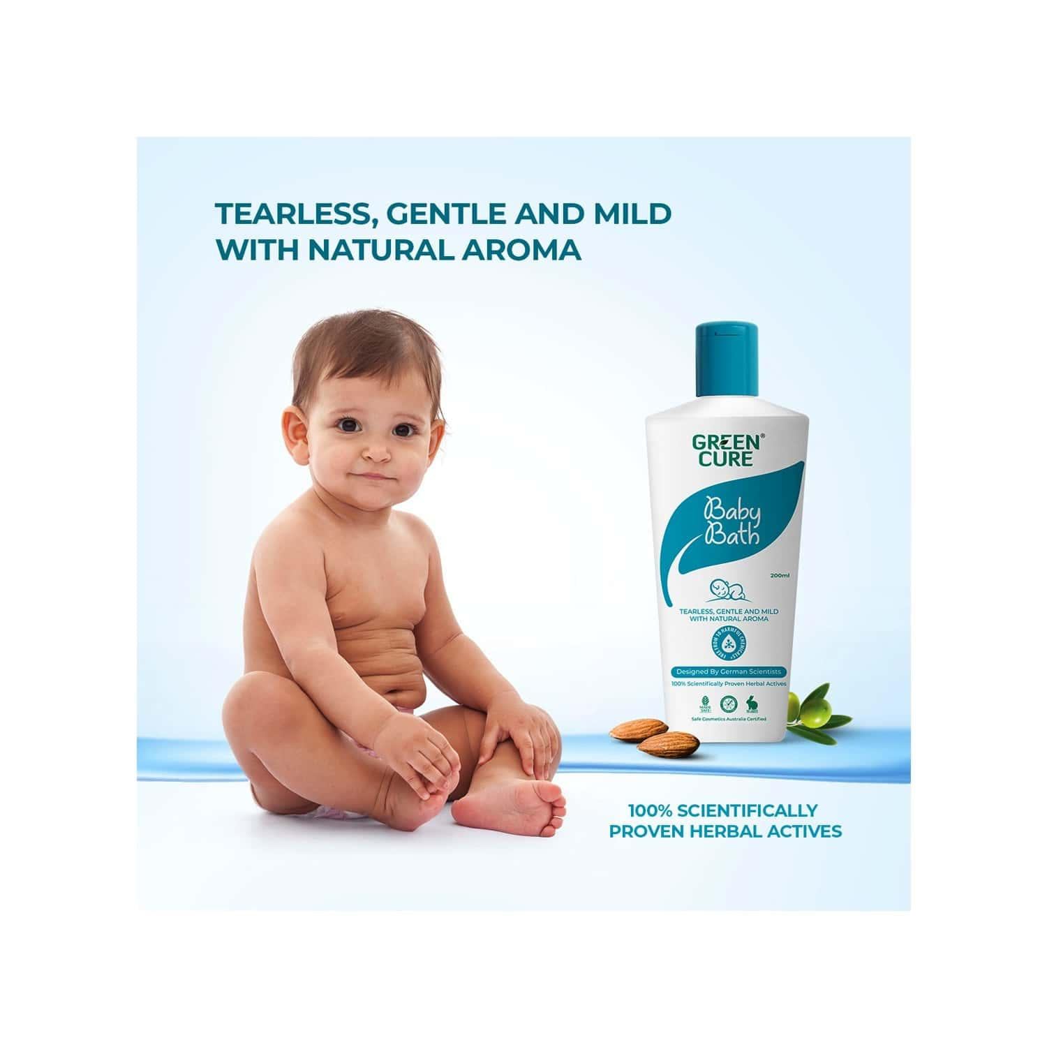 Green Cure Natural Baby Bath Soothing & Gentle For Sensitive Baby Skin - 200ml