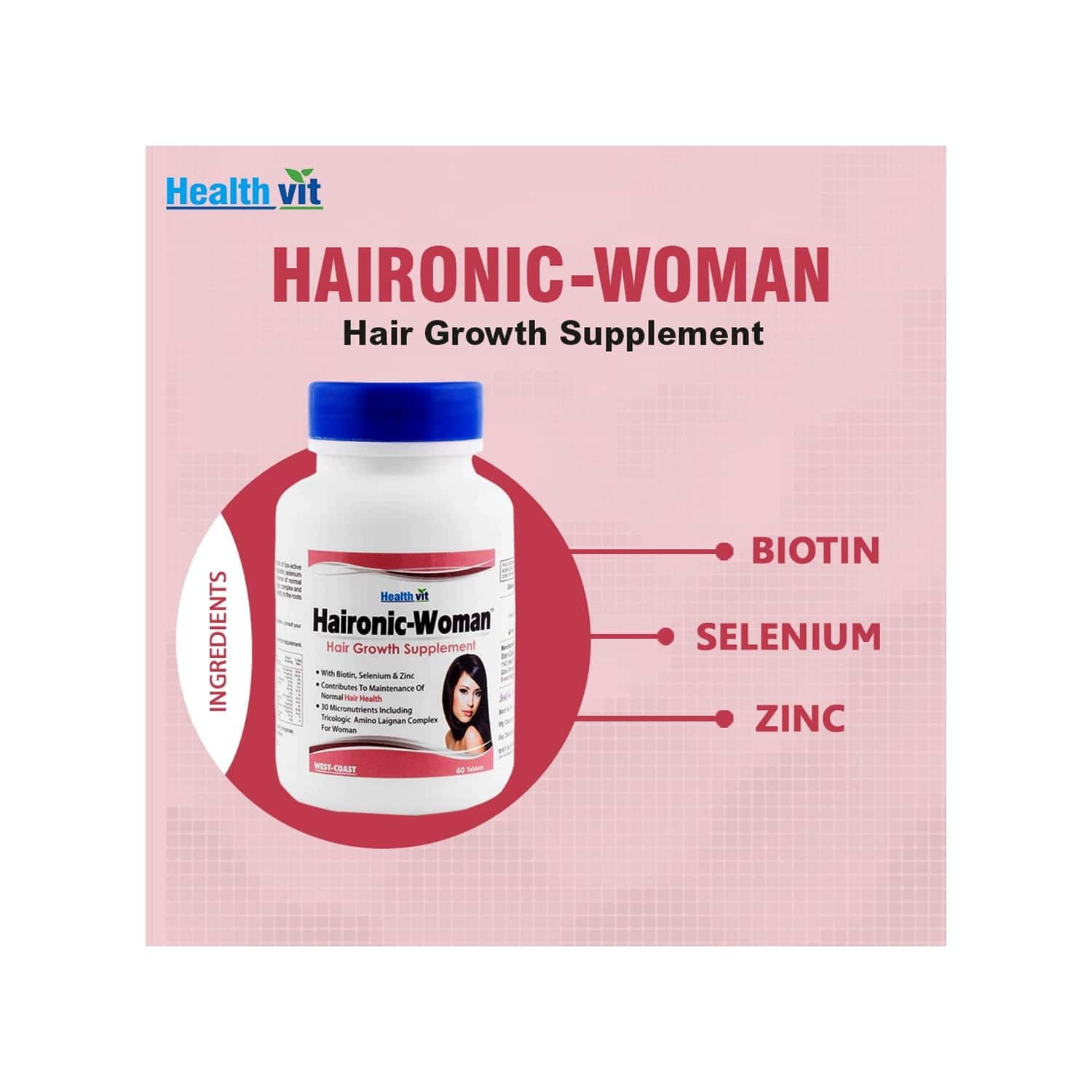 Healthvit Haironic Woman Hair Growth Formula For Longer, Stronger, Healthier Hair - For All Hair Types - 60 Tablets