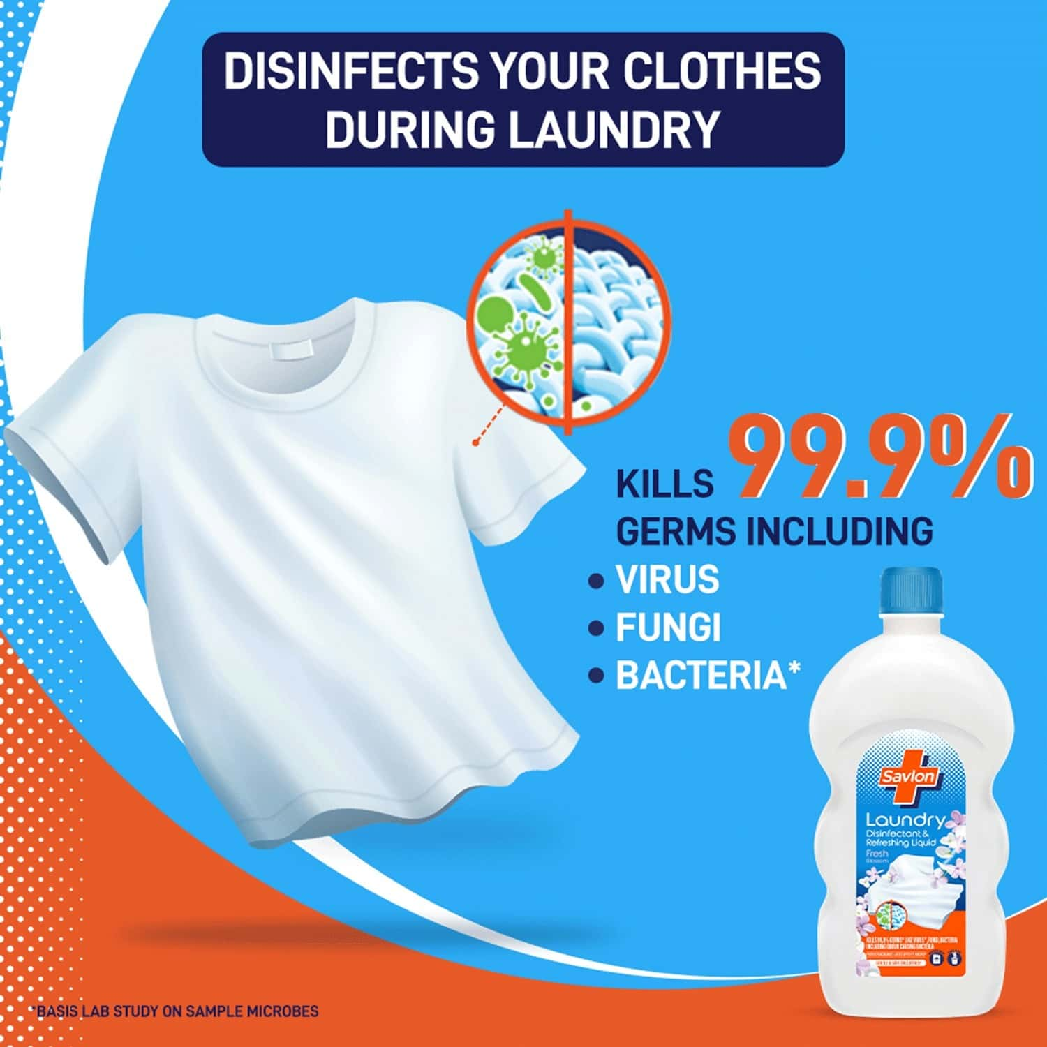 Savlon Laundry Disinfectant & Refreshing Liquid 1000ml, After Detergent Wash, Safe On Clothes
